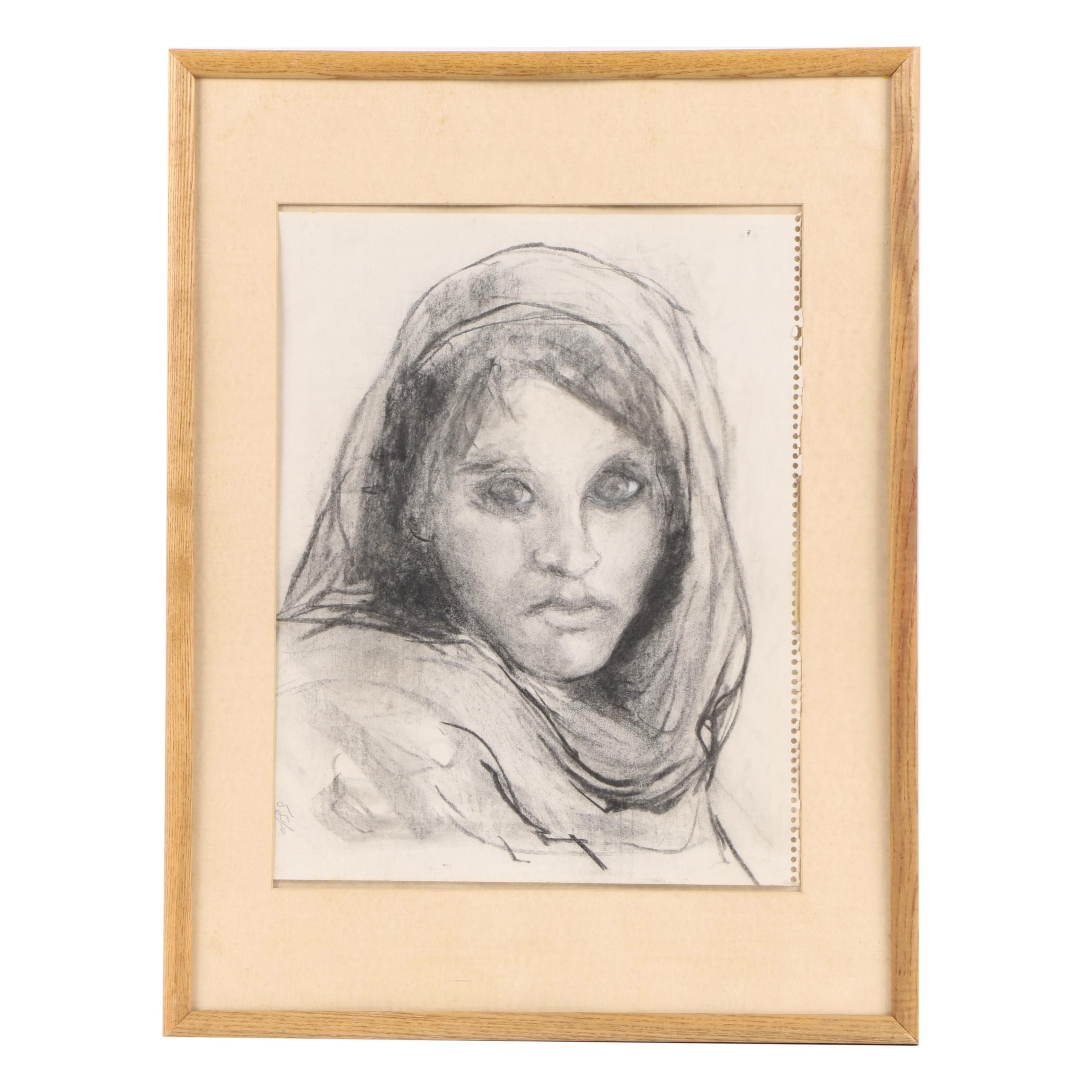 """Charcoal Study After Steve Curry's """"Afghan Girl"""""""