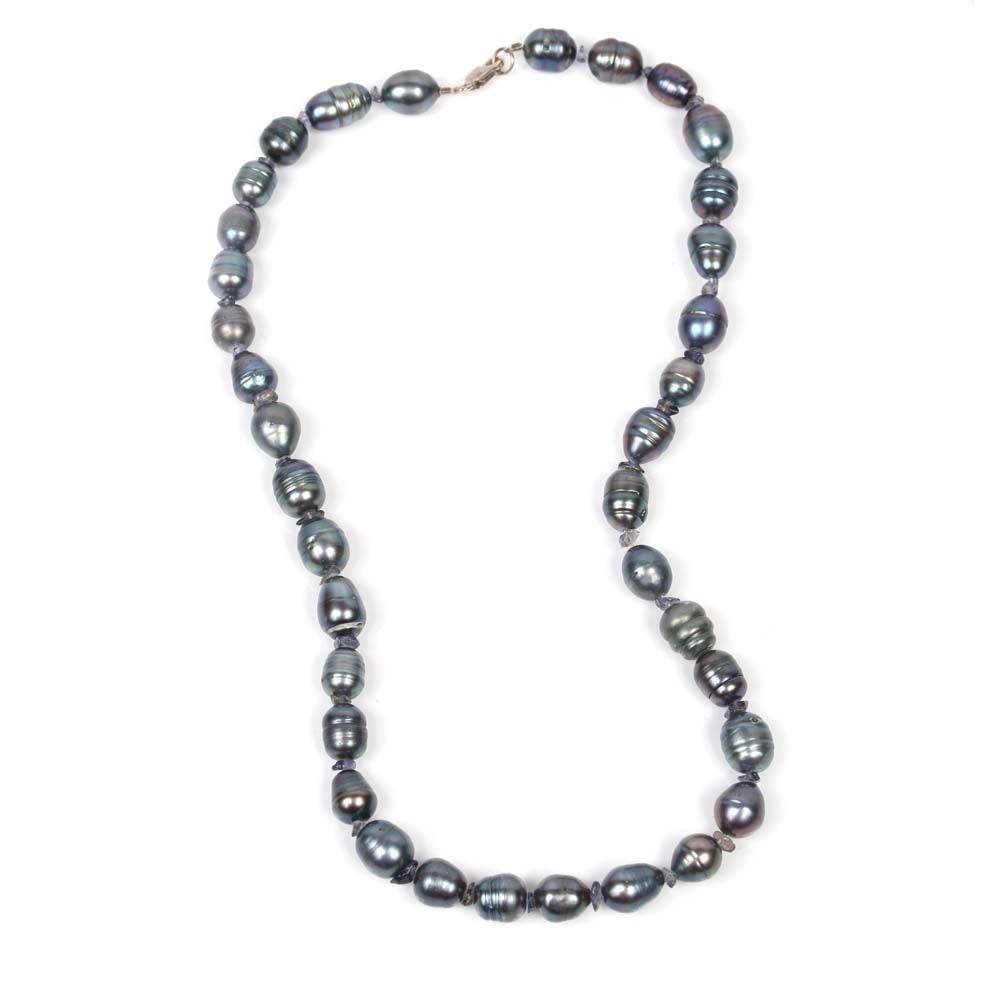 Sterling Silver and Grey Freshwater Pearl Necklace
