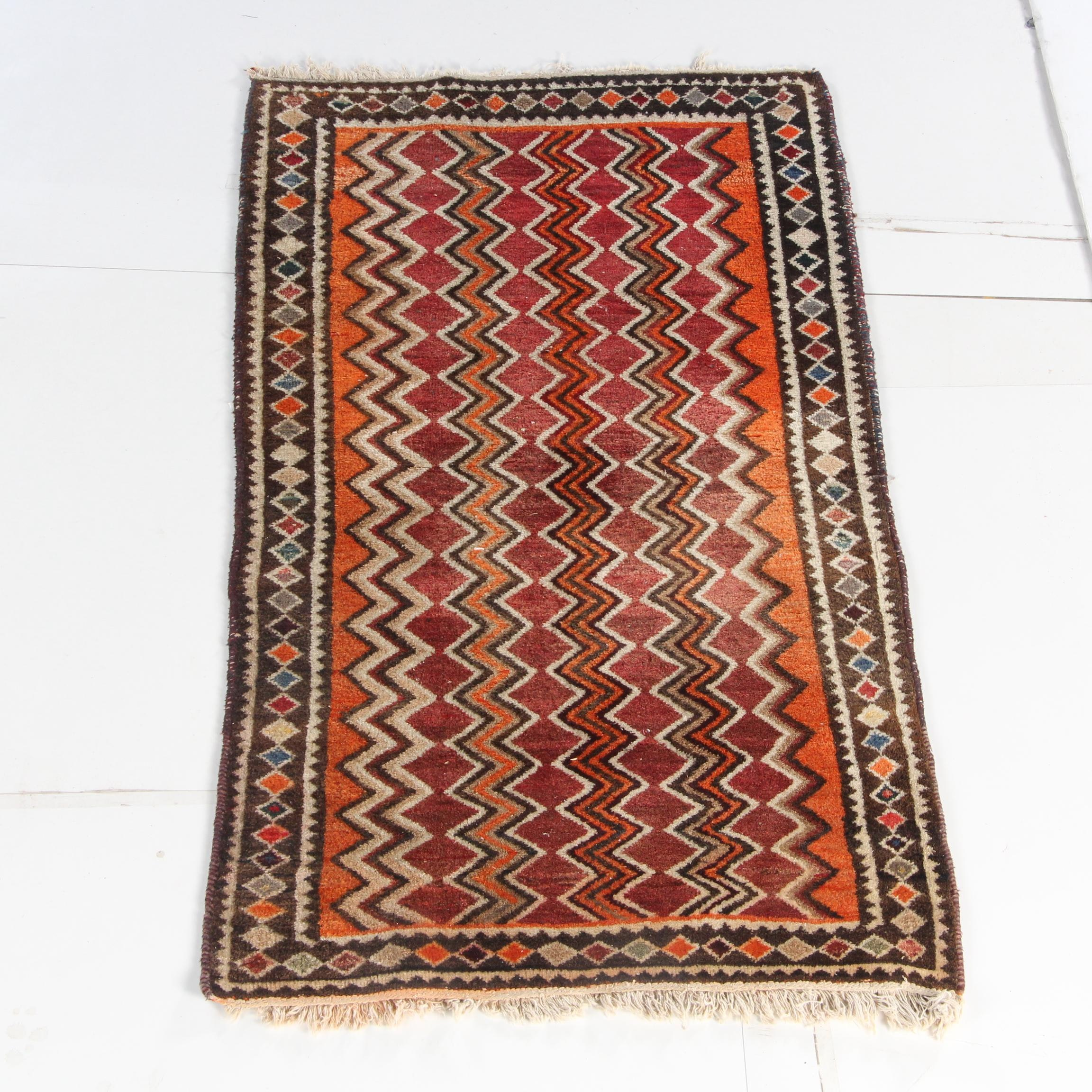 Hand-Knotted Persian Gabbeh Wool Accent Rug