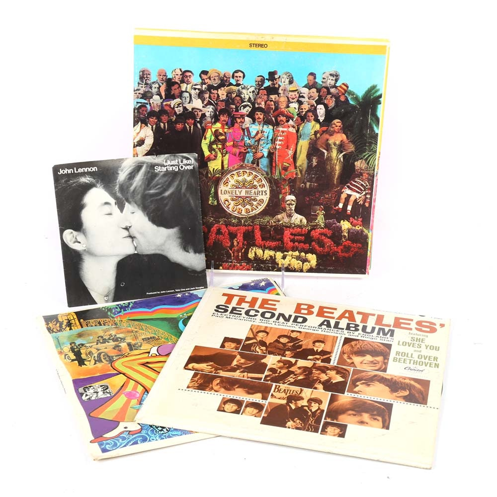 Vintage Beatles LPs Including Sgt Peppers Lonely Hearts Club Band