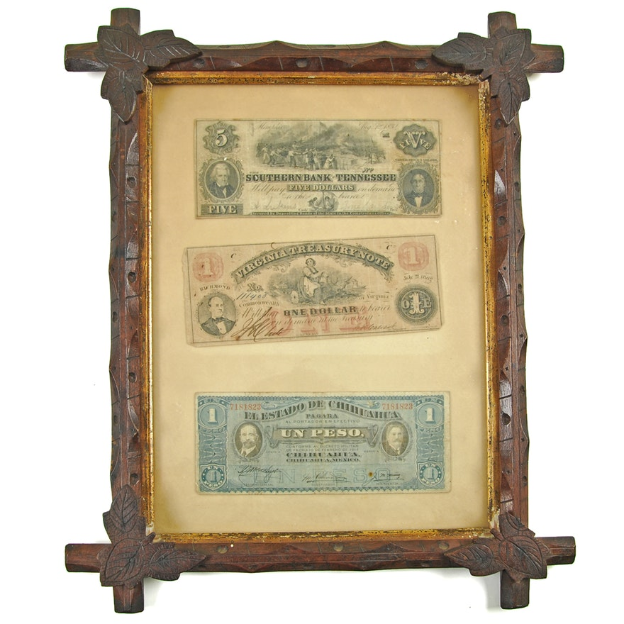 Framed Civil War and Mexican Currency : EBTH
