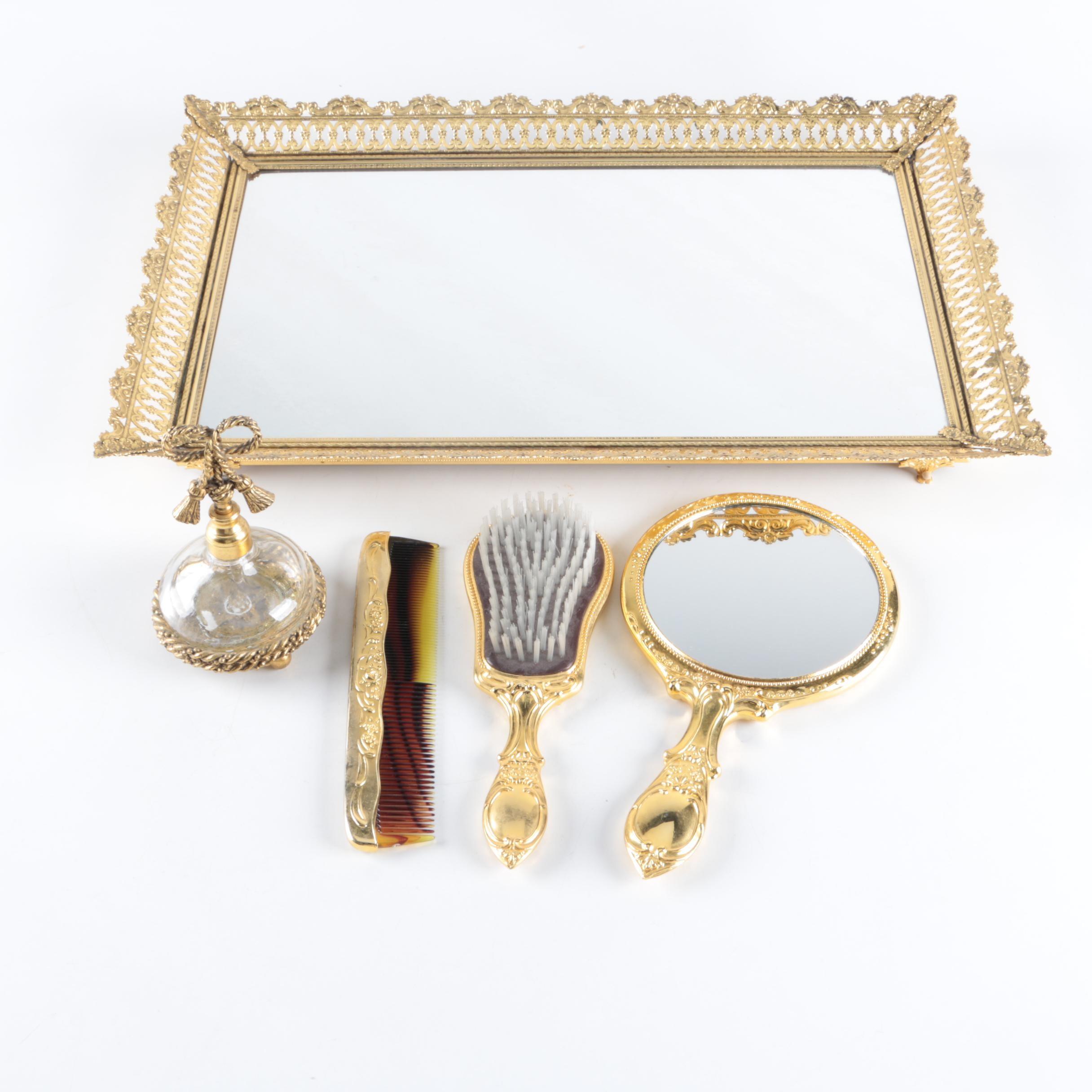 Brass Tone Metal Vanity Accessories