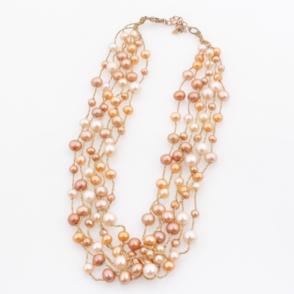 Dyed Cultured Freshwater Pearl Necklace With Sterling Silver Clasp