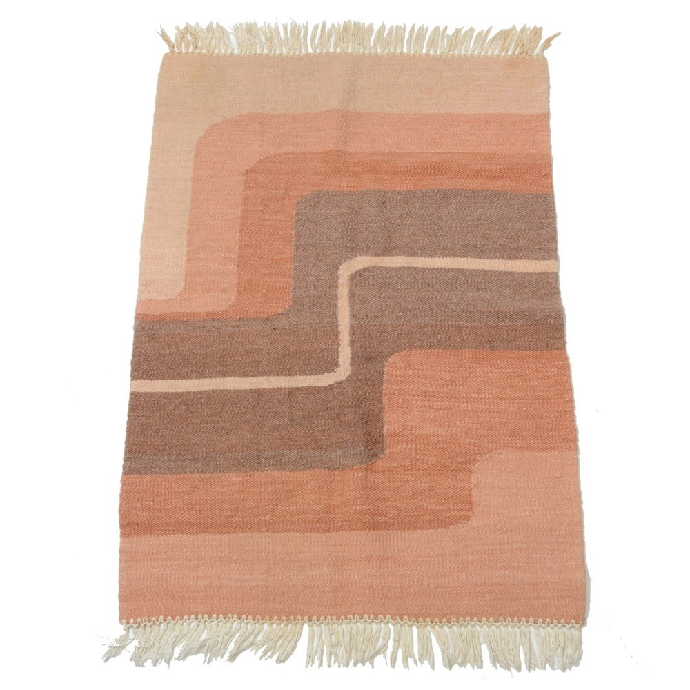 Contemporary Handwoven Wool and Cotton Area Rug
