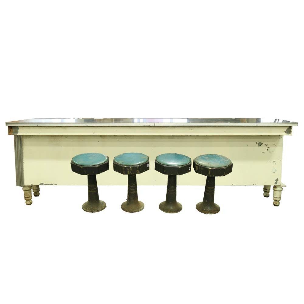 Vintage Lunch Counter and Stools