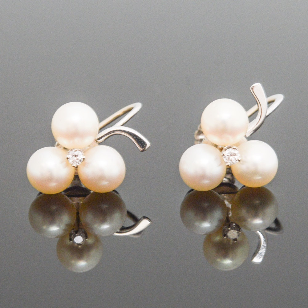 14K White Gold Diamond and Cultured Pearl Earrings