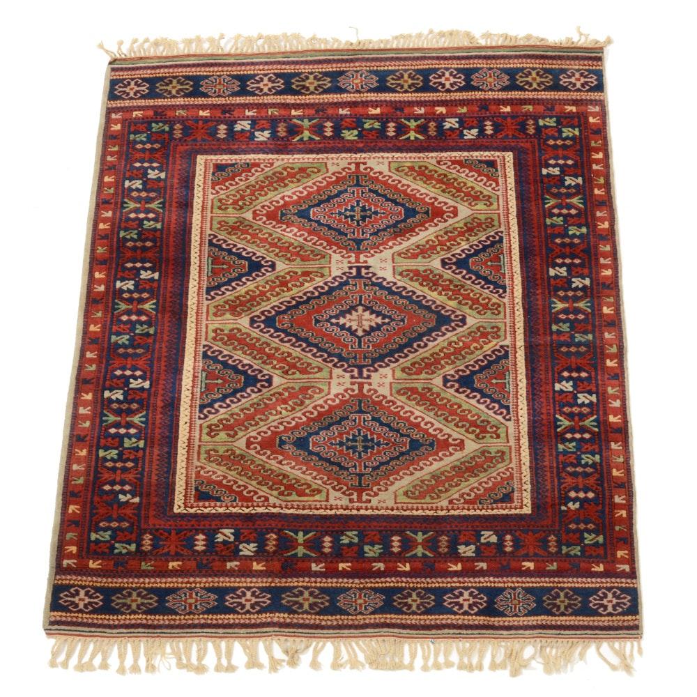 Hand-Knotted Caucasian Kazak Wool Area Rug