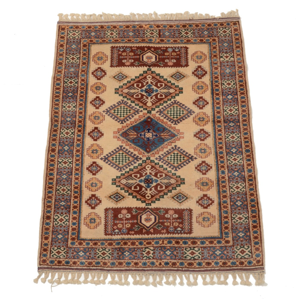Hand-Knotted Caucasian Carved Wool Area Rug