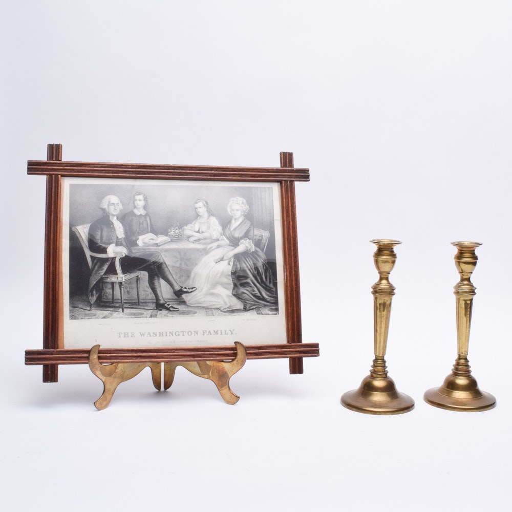 George Washington Family Intaglio Print with Brass Candle Holders