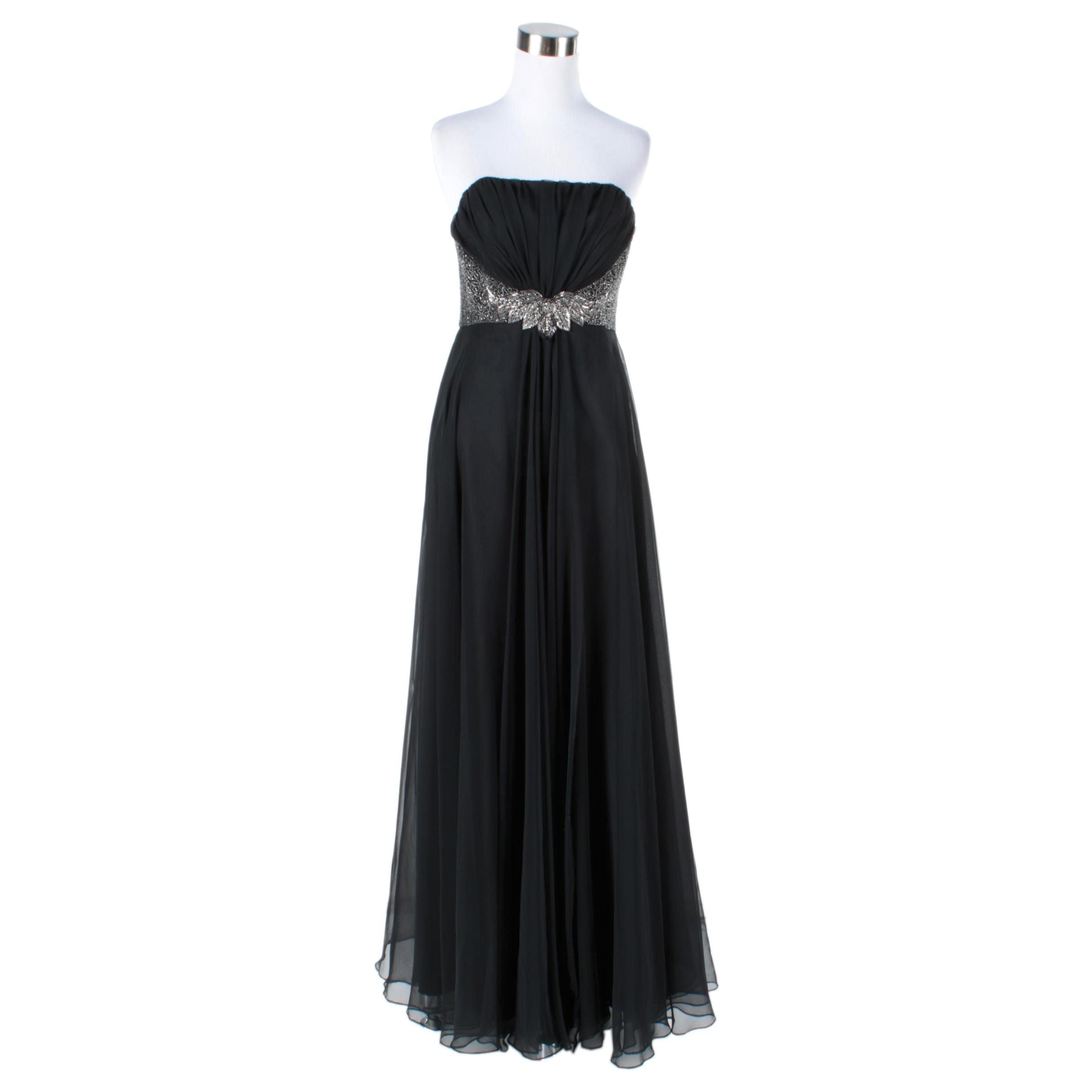 Circa 1970s Vintage Mike Benet Formals Strapless Evening Dress