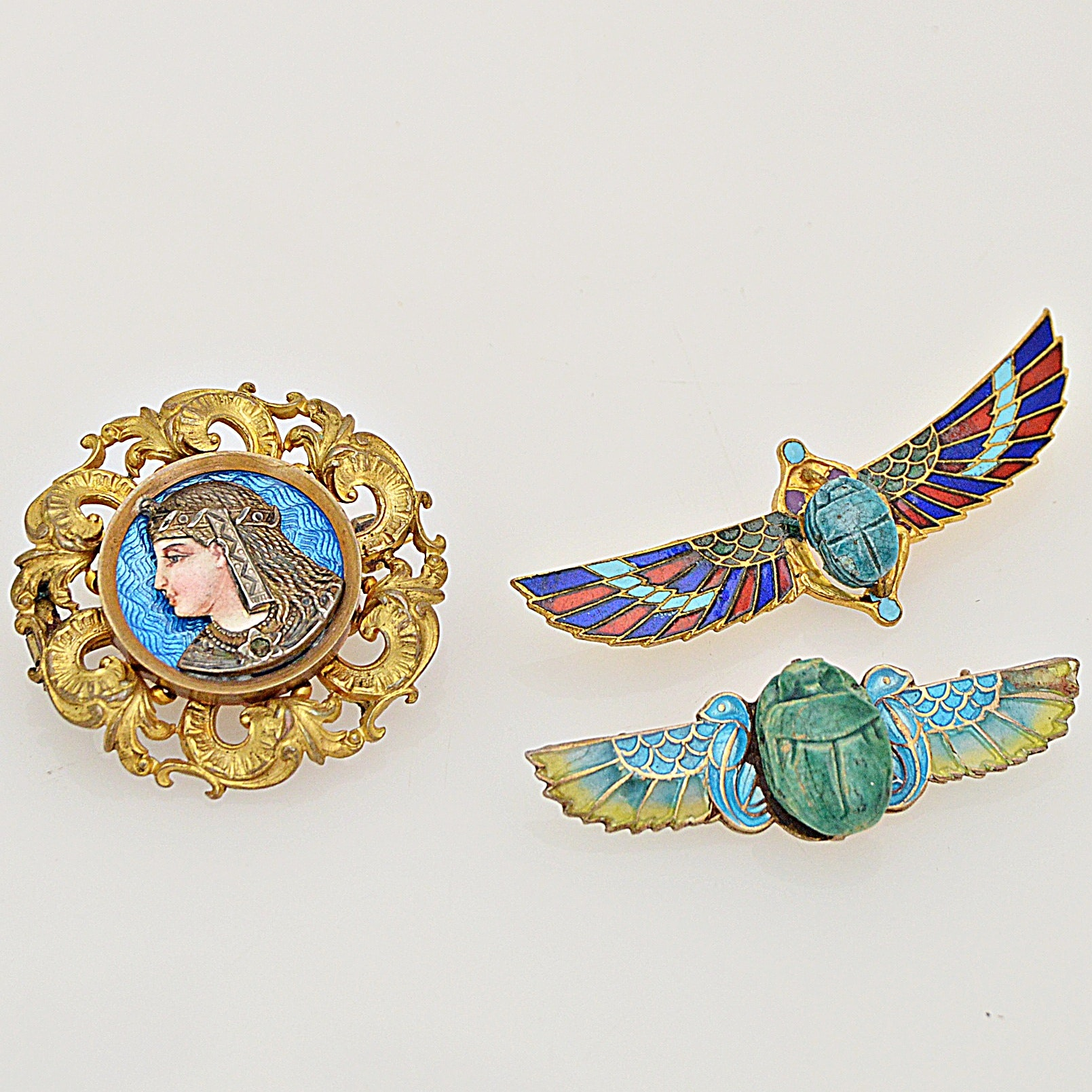 Victorian Egyptian Revival Enamel Brooches with 800 Silver