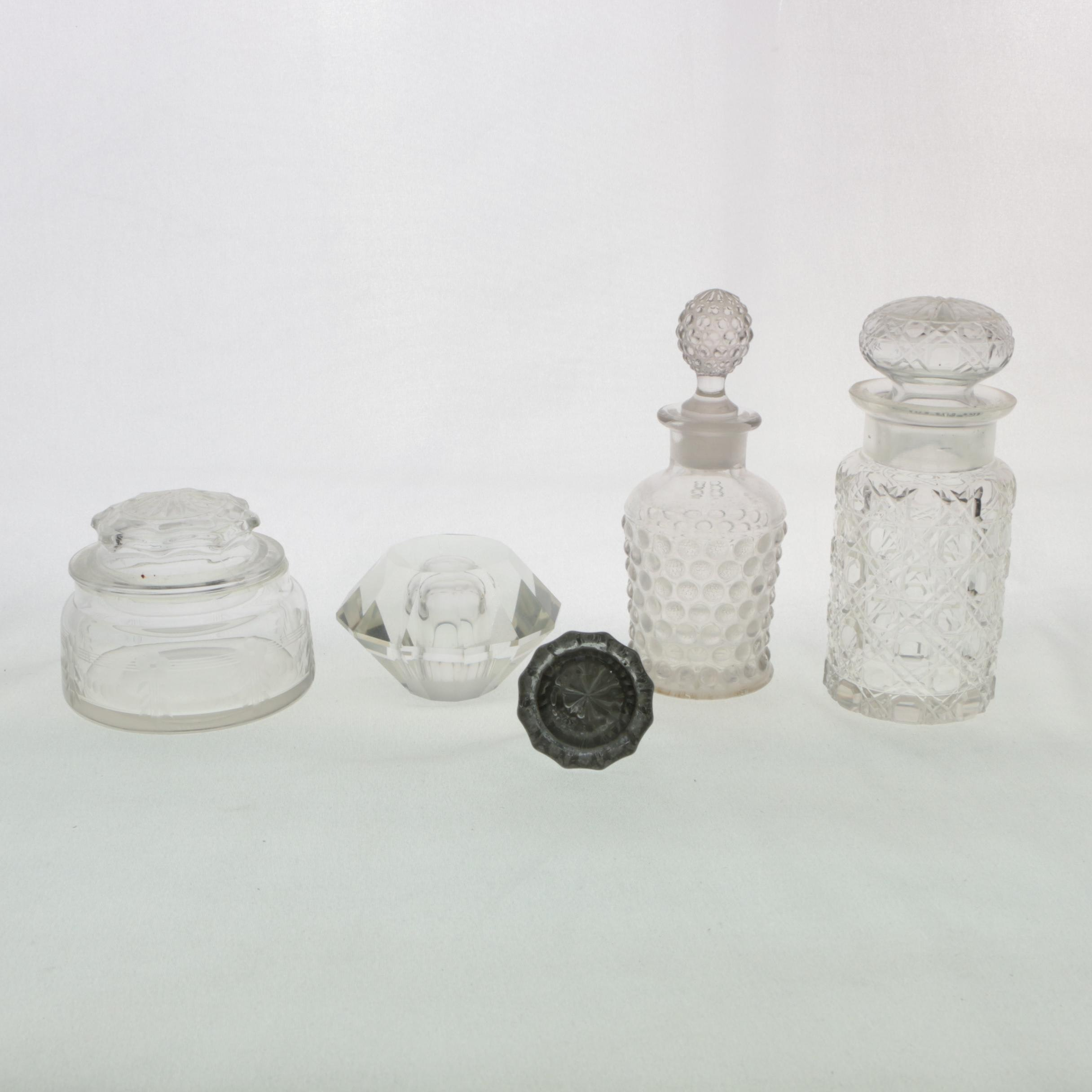 Glass Decanters with Paperweight and Jar