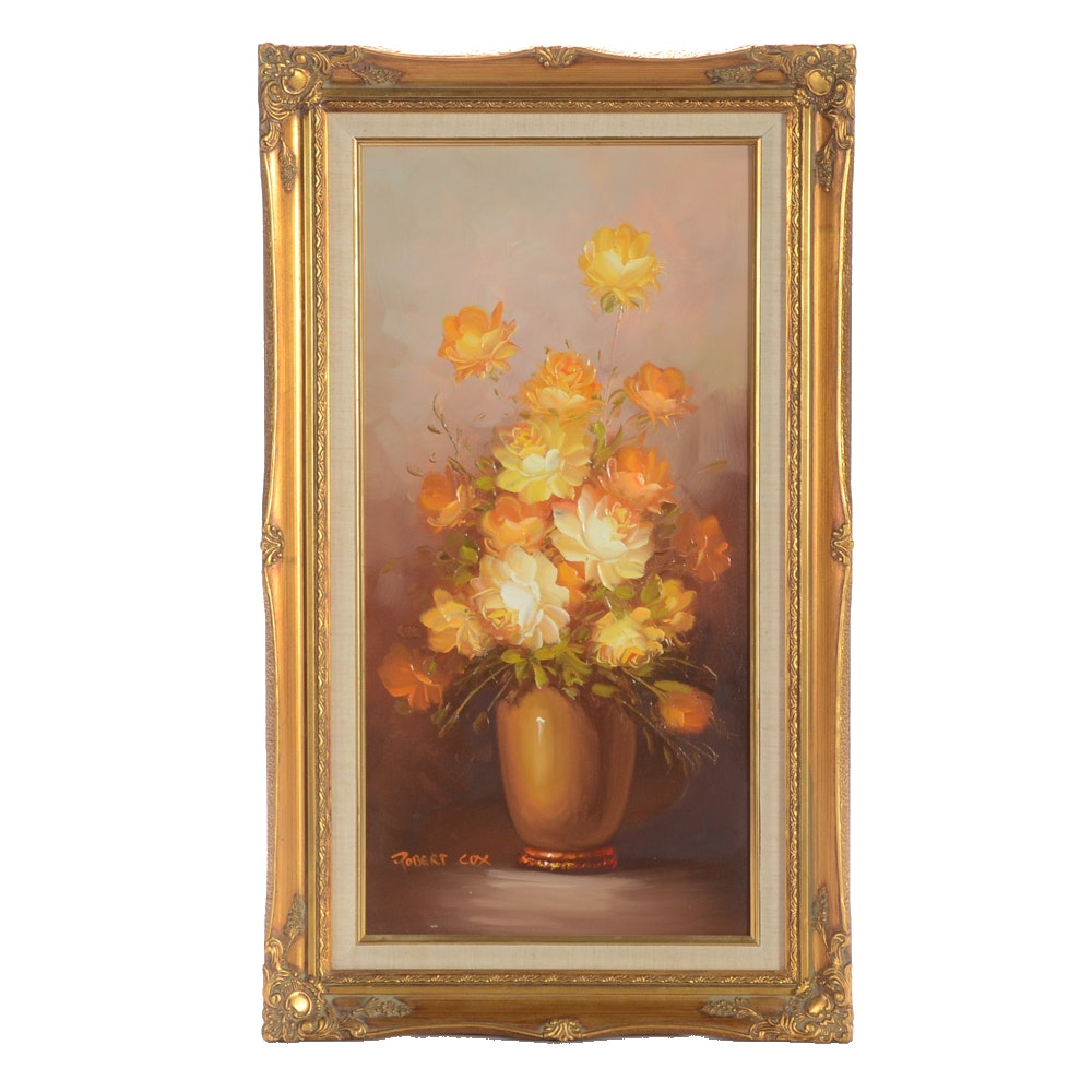 Robert Cox Original Oil Painting on Canvas of Vase of Yellow Roses