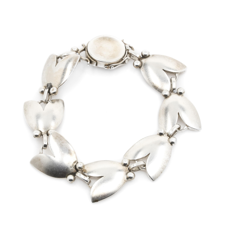 Georg Jensen Sterling Silver Tulip Motif Bracelet