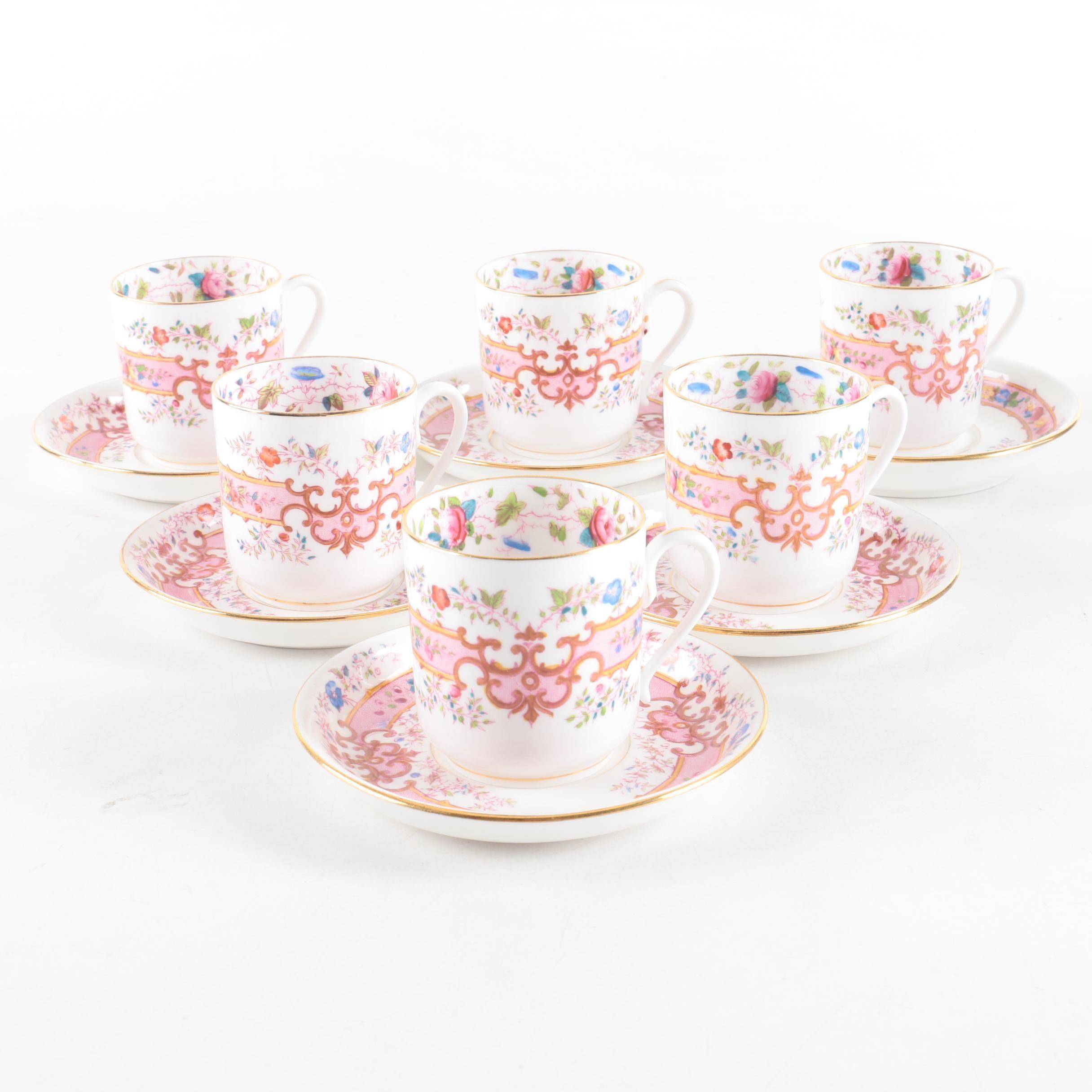Vintage Floral Porcelain Teacups and Saucers