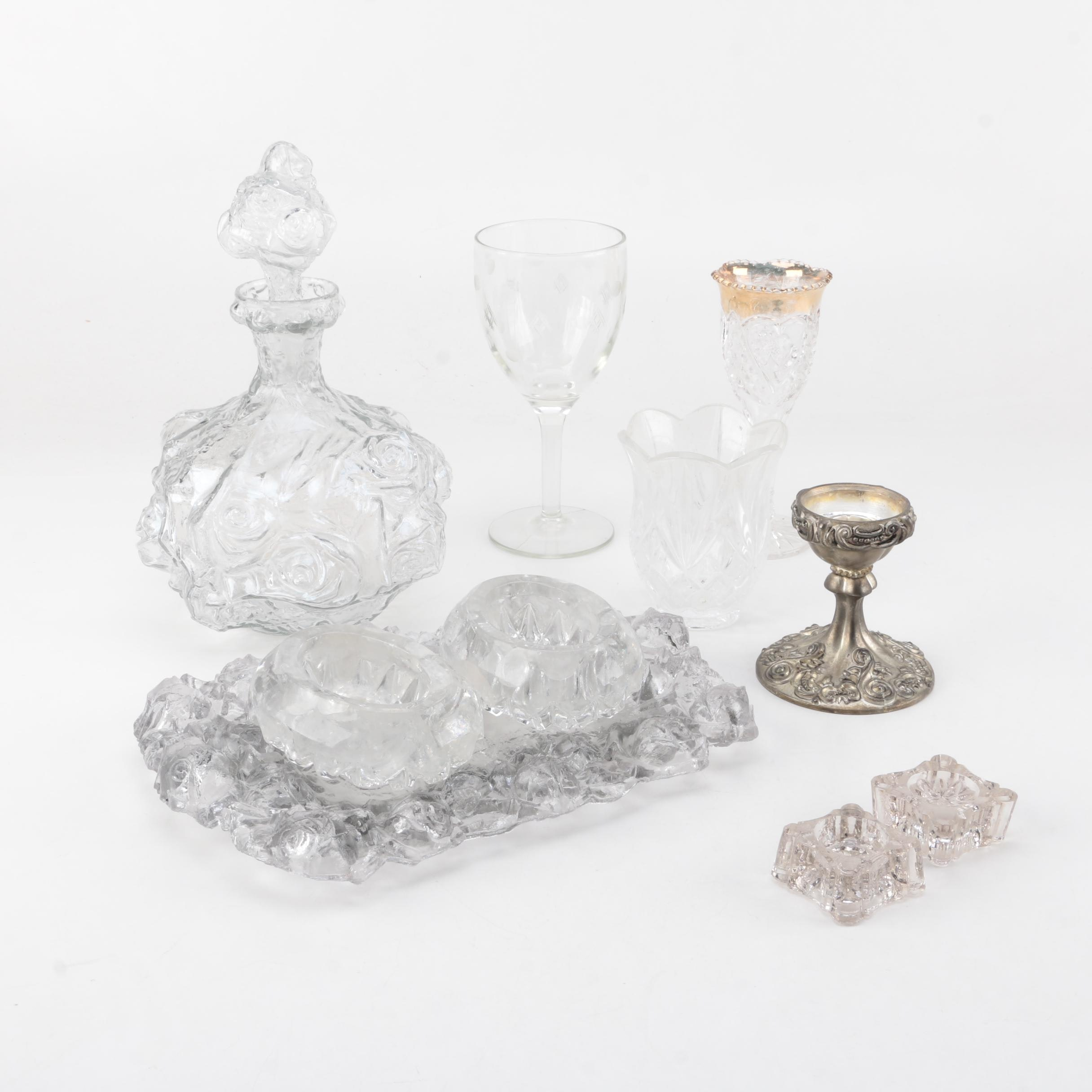 Godinger Silver Plate Candle Holder with Assorted Glassware and Table Decor
