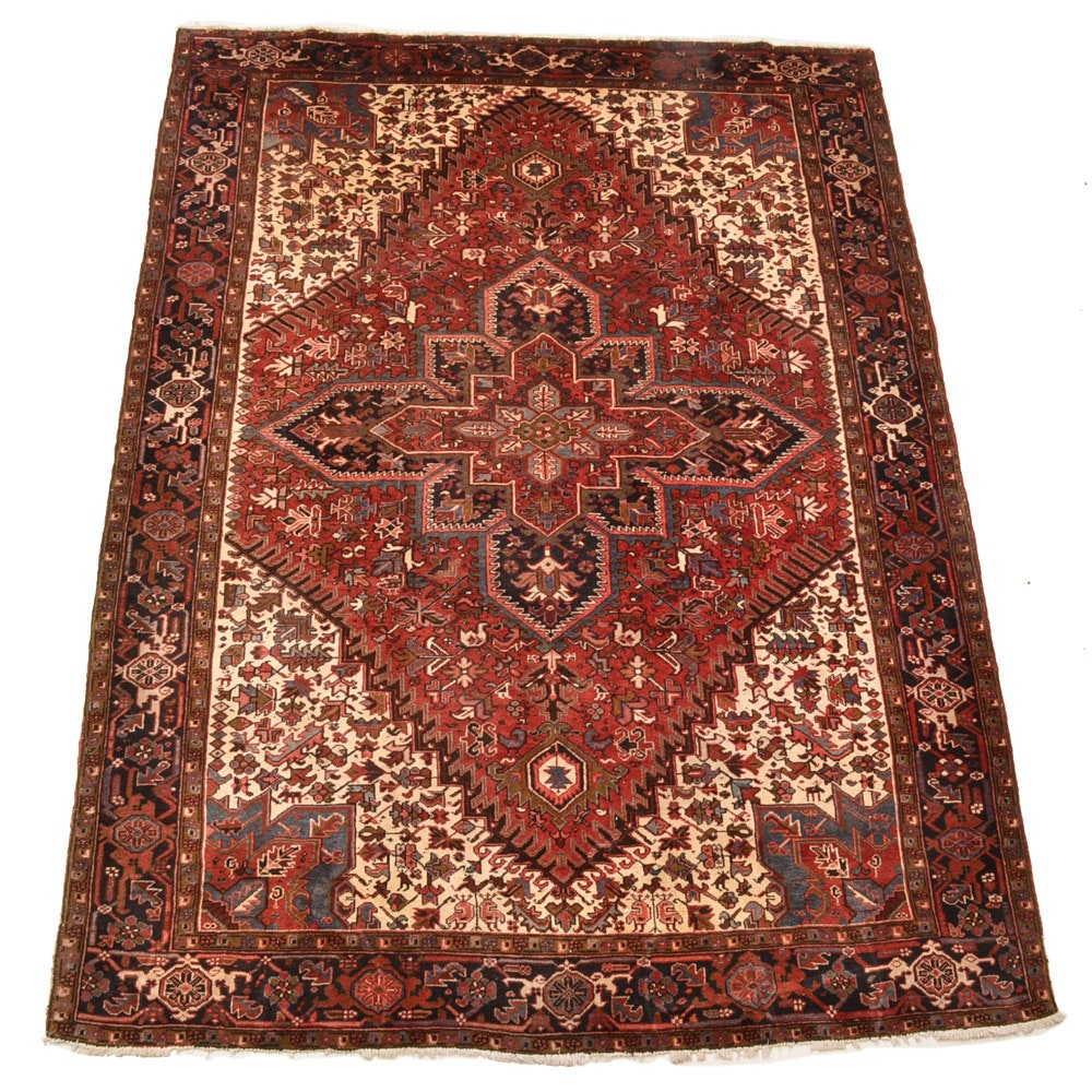 Hand-Knotted Turkish Heriz Area Rug
