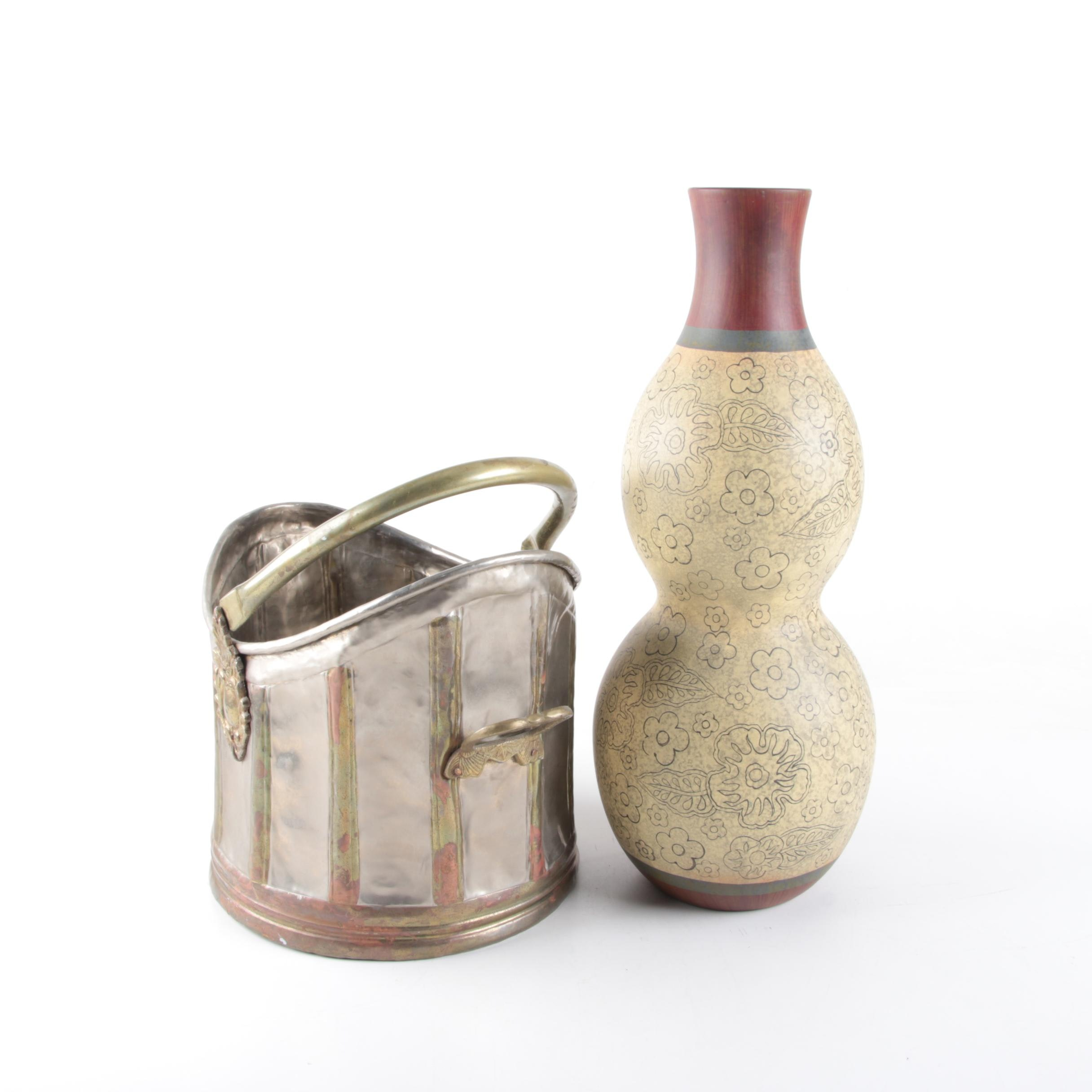 Decorative Coal Scuttle and Double Gourd Vase