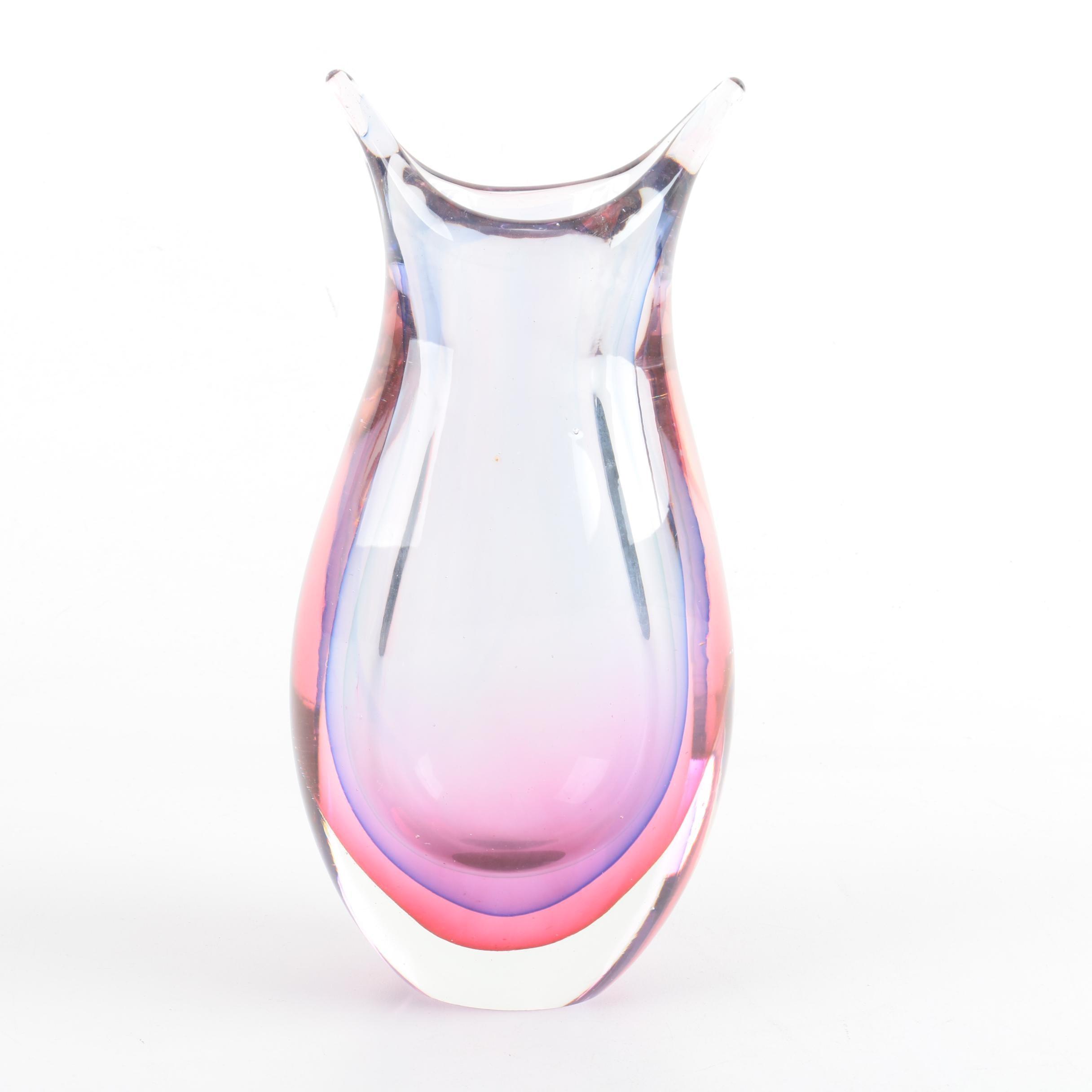 Sommerso Murano Style Art Glass Vase