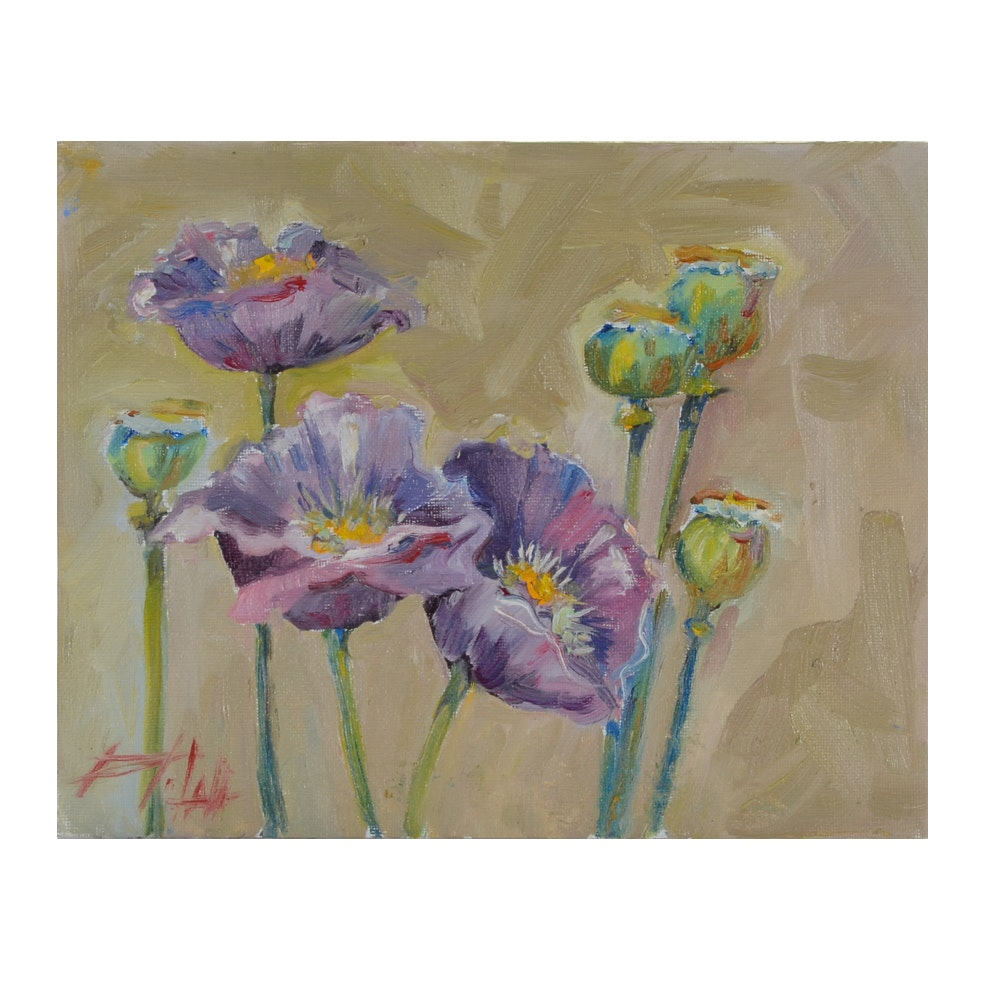 "Delilah Smith Oil Painting on Canvas Board ""Purple Poppies"""