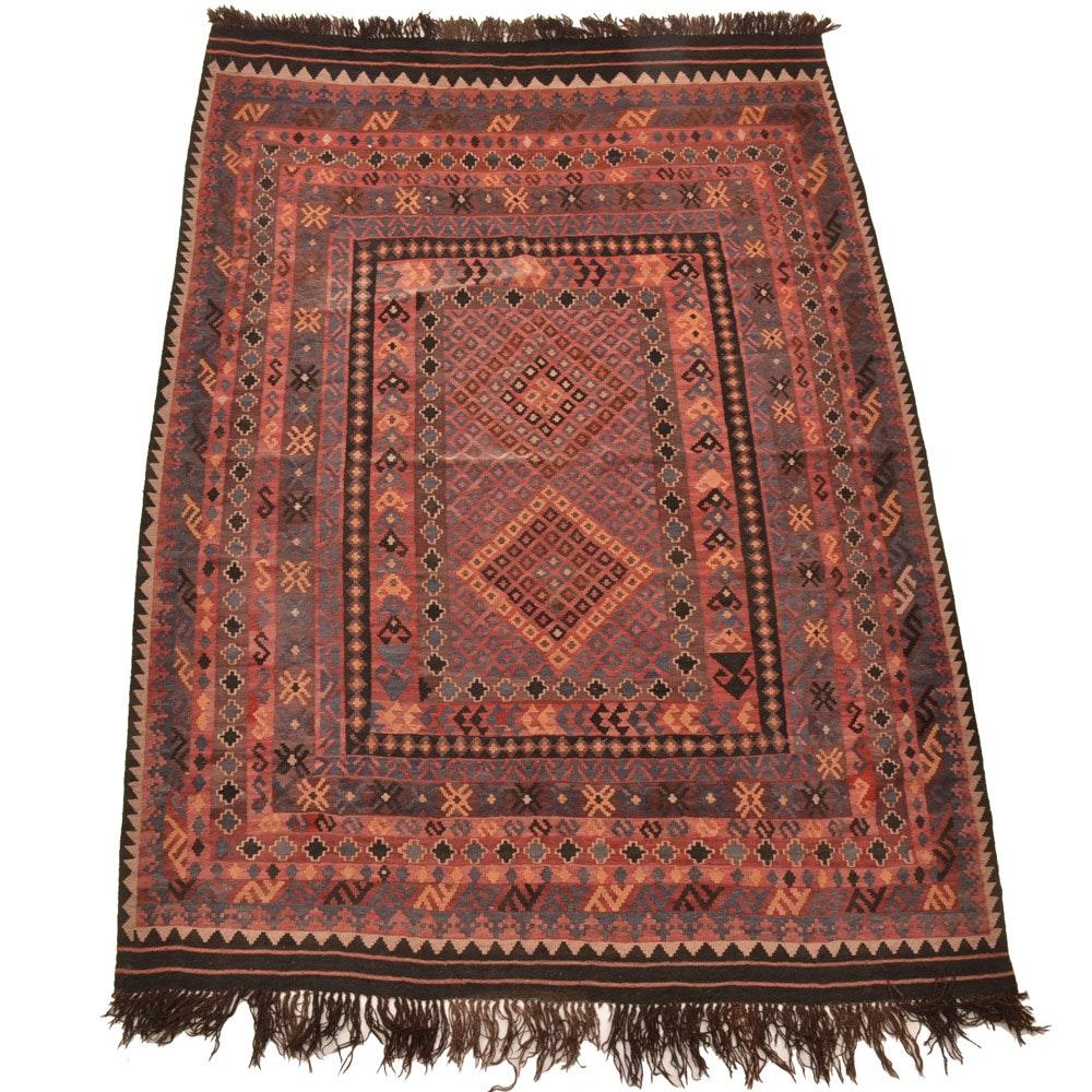 Hand-Knotted Pakistani Kilim Wool Area Rug