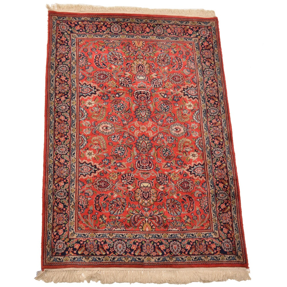 Hand-Knotted Indo-Persian Kashan Area Rug