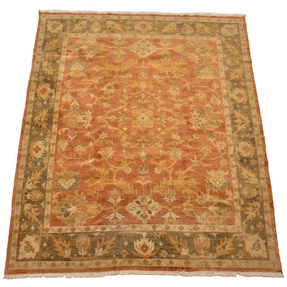 Hand-Knotted Indo-Oushak Area Rug