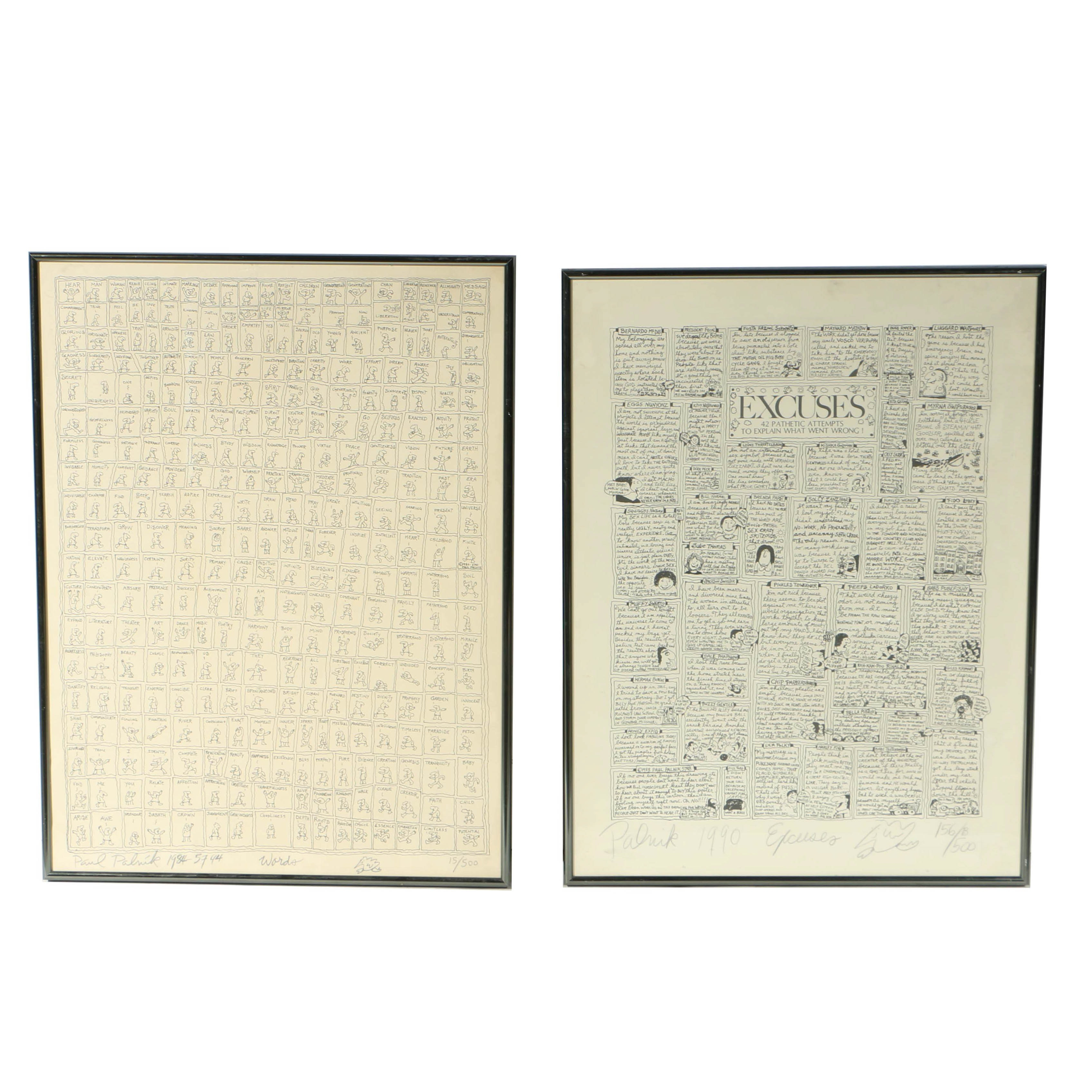 """Pair of Paul Palnik Limited Edition Lithographs on Paper """"Words"""" and """"Excuses"""""""