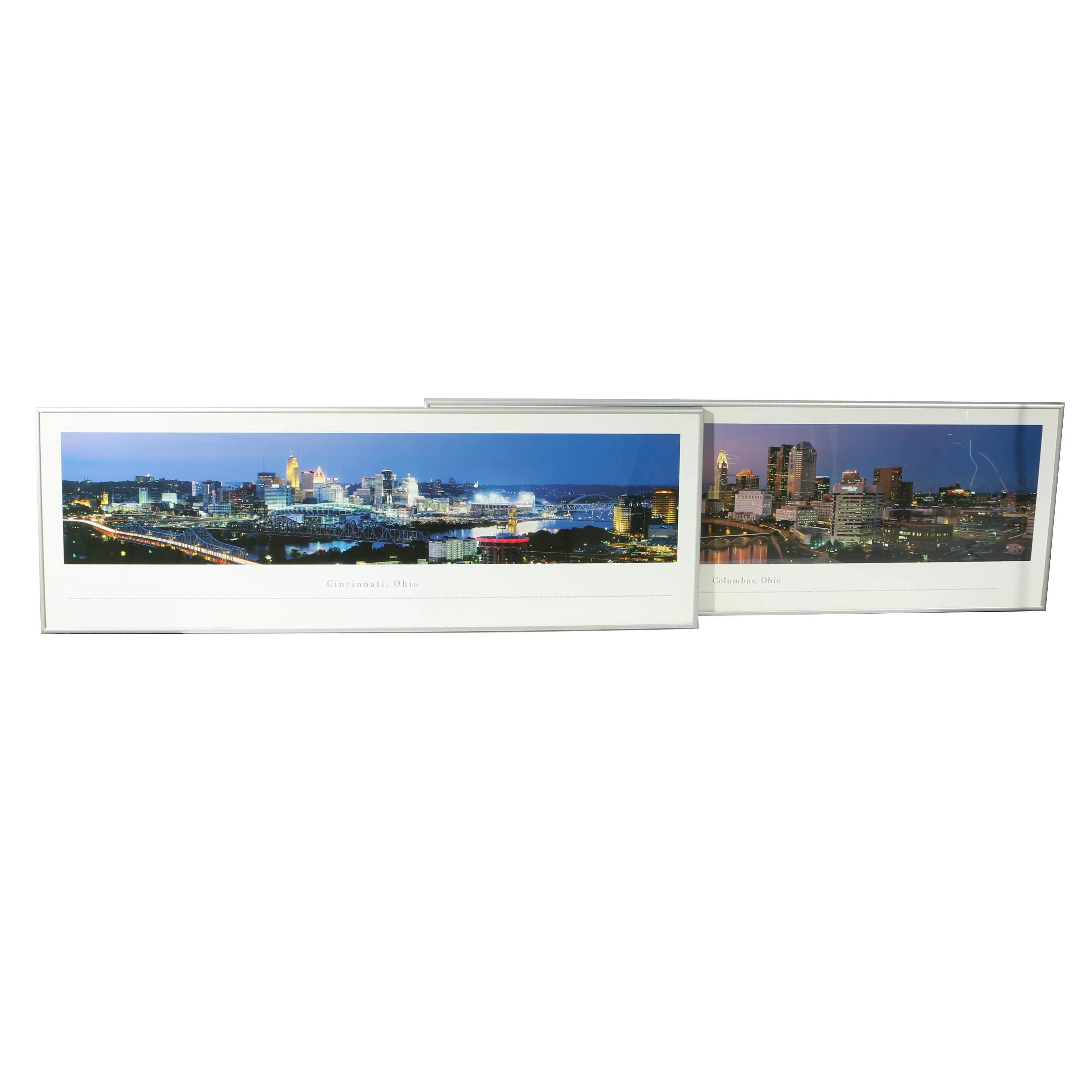 Pair of Offset Lithographs of Cincinnati and Columbus, Ohio Skylines