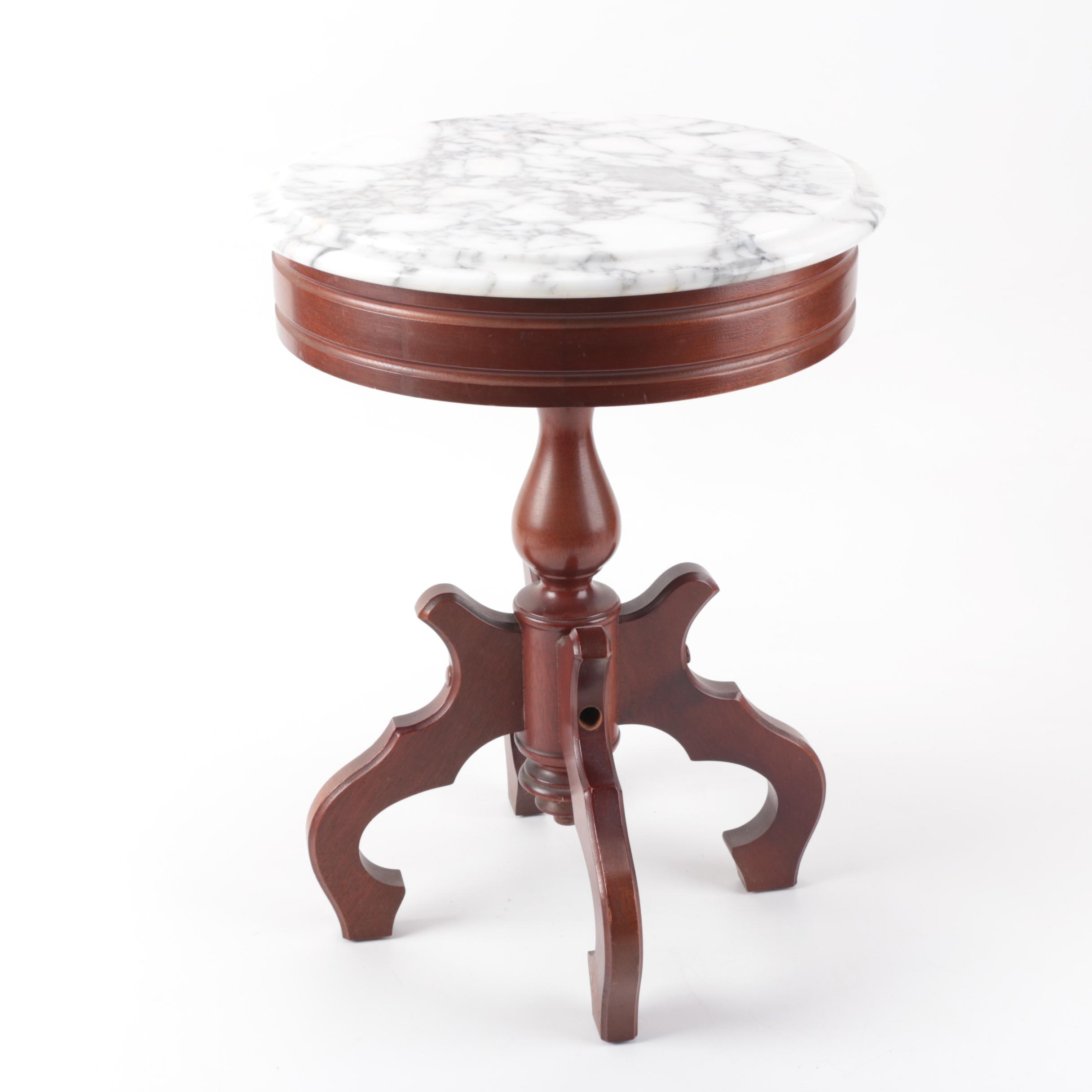 Victorian Style Marble and Mahogany Accent Table