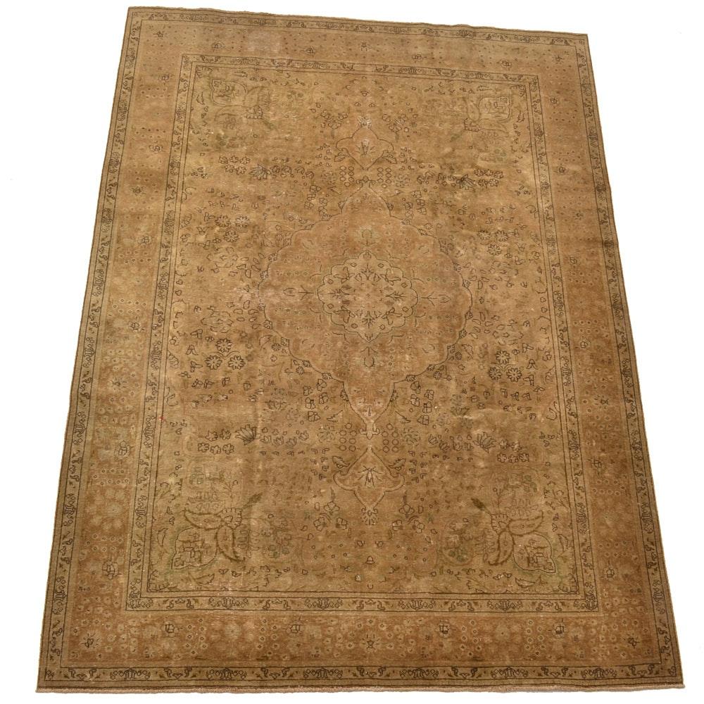 Hand-Knotted Pesian Tabriz Wool Area Rug