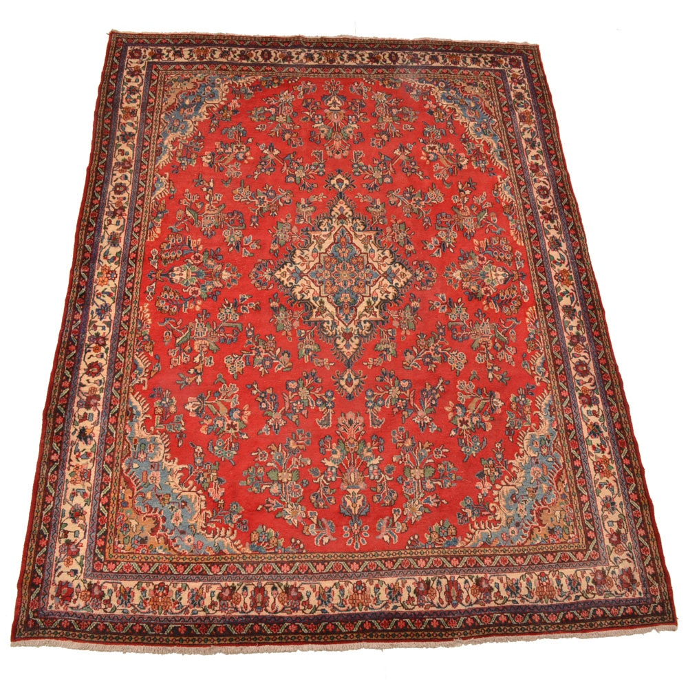 Hand-Knotted Persian Kashan Wool Room Size Rug