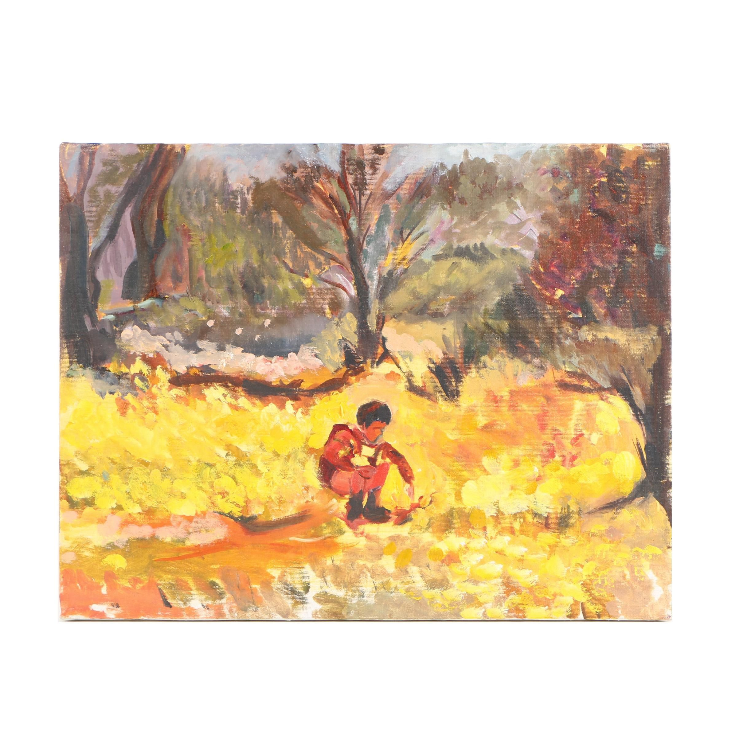 Oil on Canvas Painting of a Child in an Autumn Landscape
