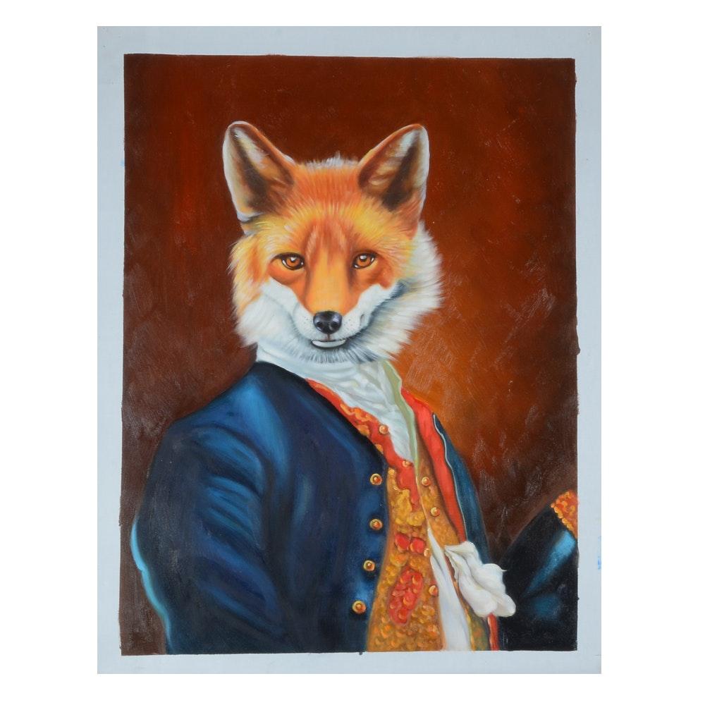Original Oil Portrait Painting of a Gentleman Fox