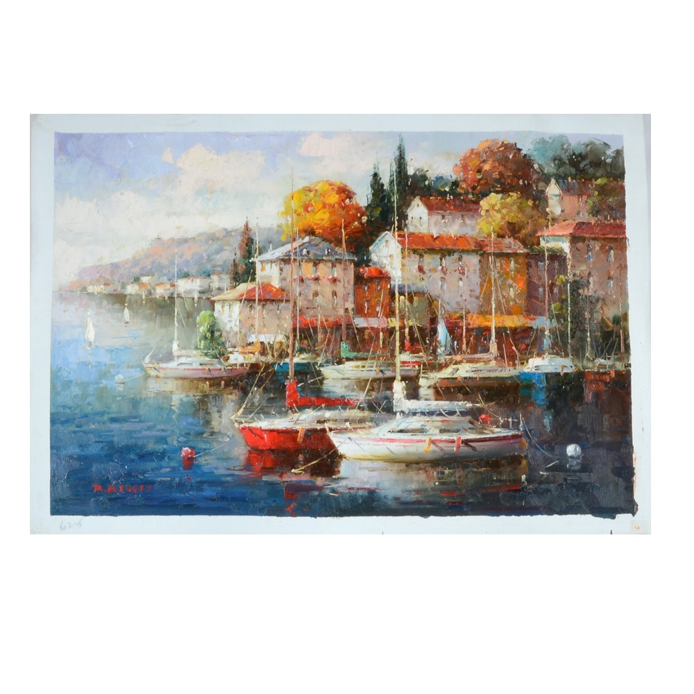 Signed Oil Painting on Canvas of Harbor Scene