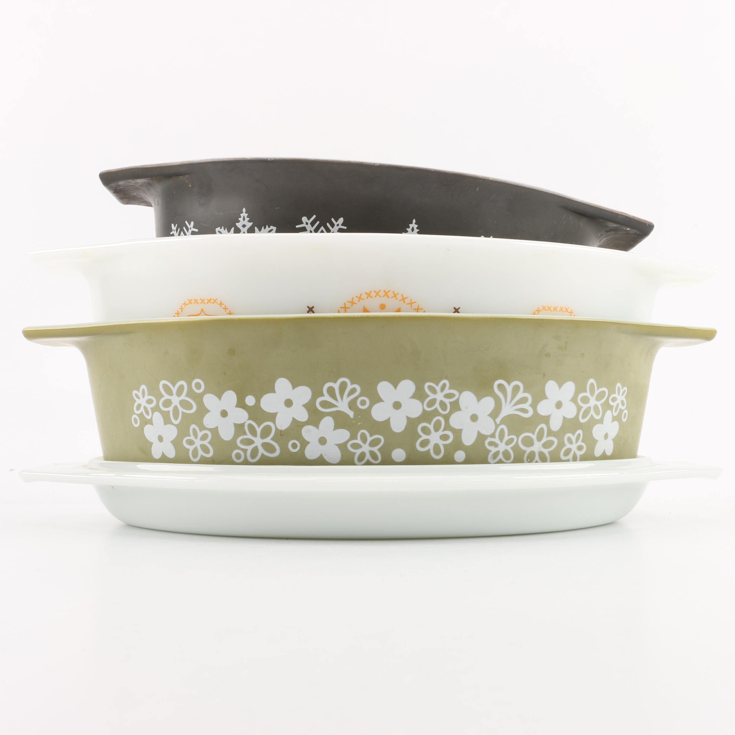 "Vintage Pyrex Dishes in ""Snowflake"", ""Town and Country"" and ""Spring Blossom"""