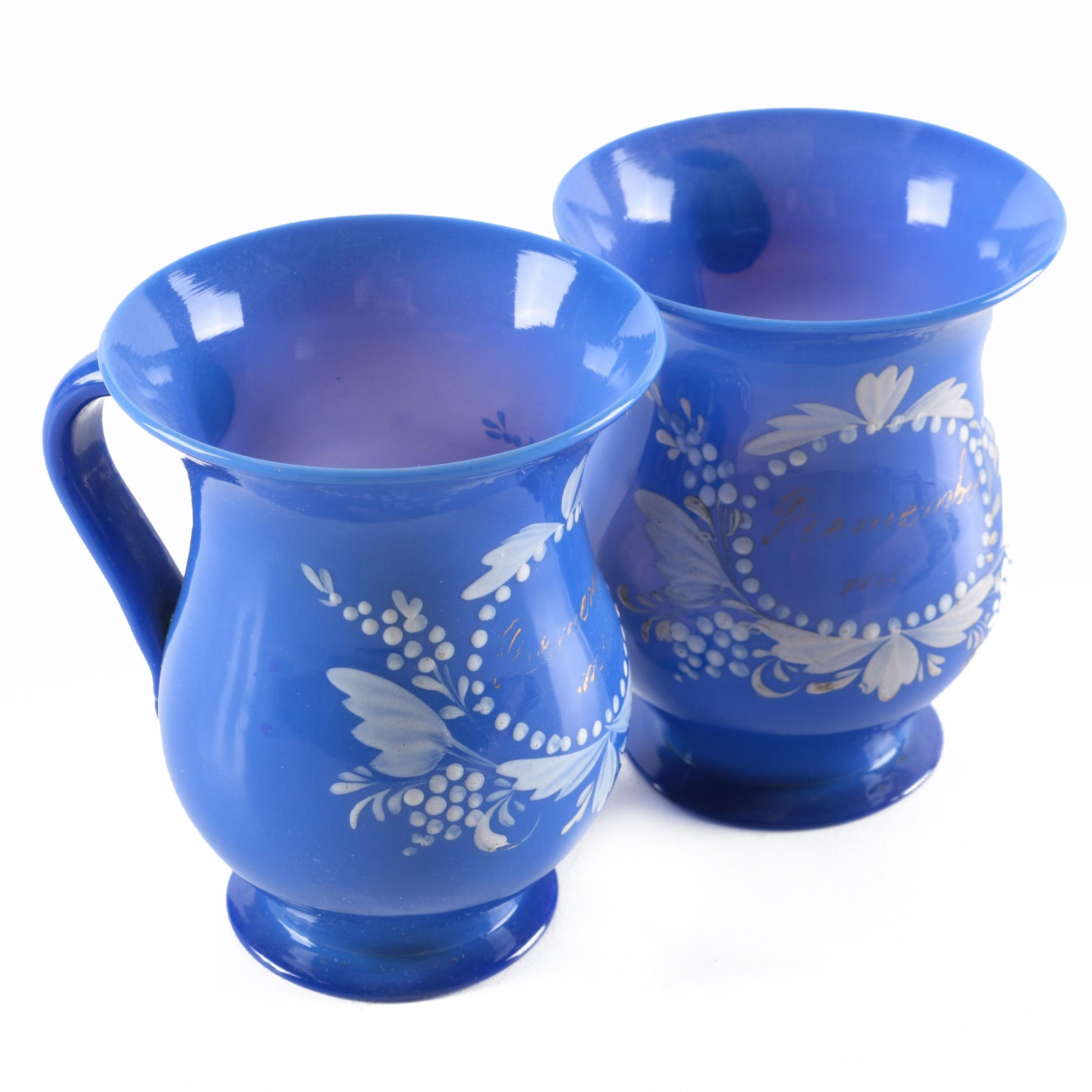 """Antique Painted """"Remember Me"""" Blue Glass Mugs"""