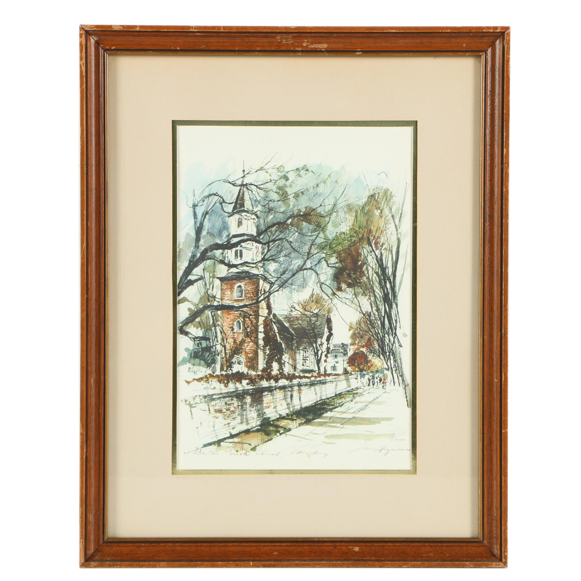"Giclee Print After John Haymson's ""Bruton Parish"""