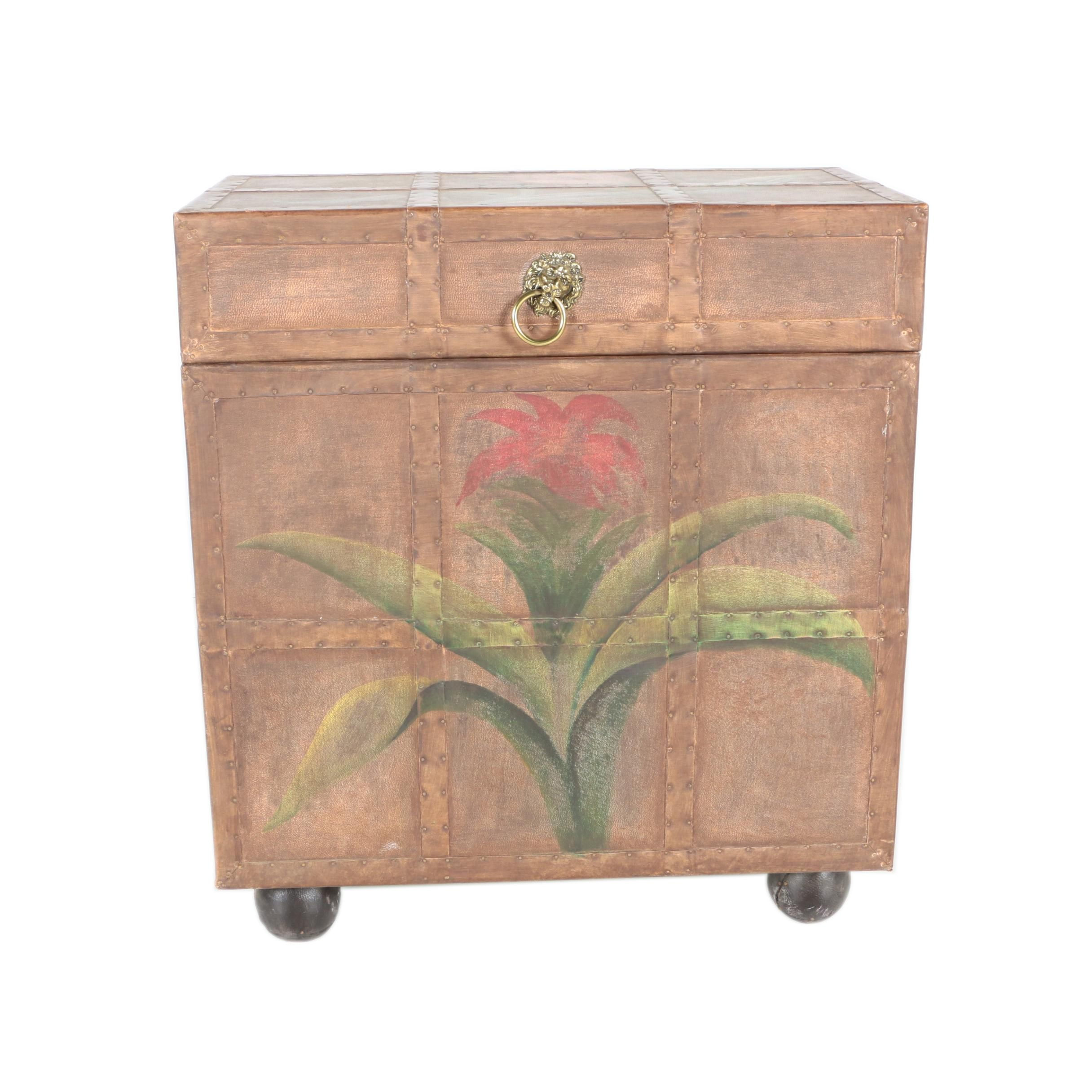 Decorative Trunk With a Floral Design