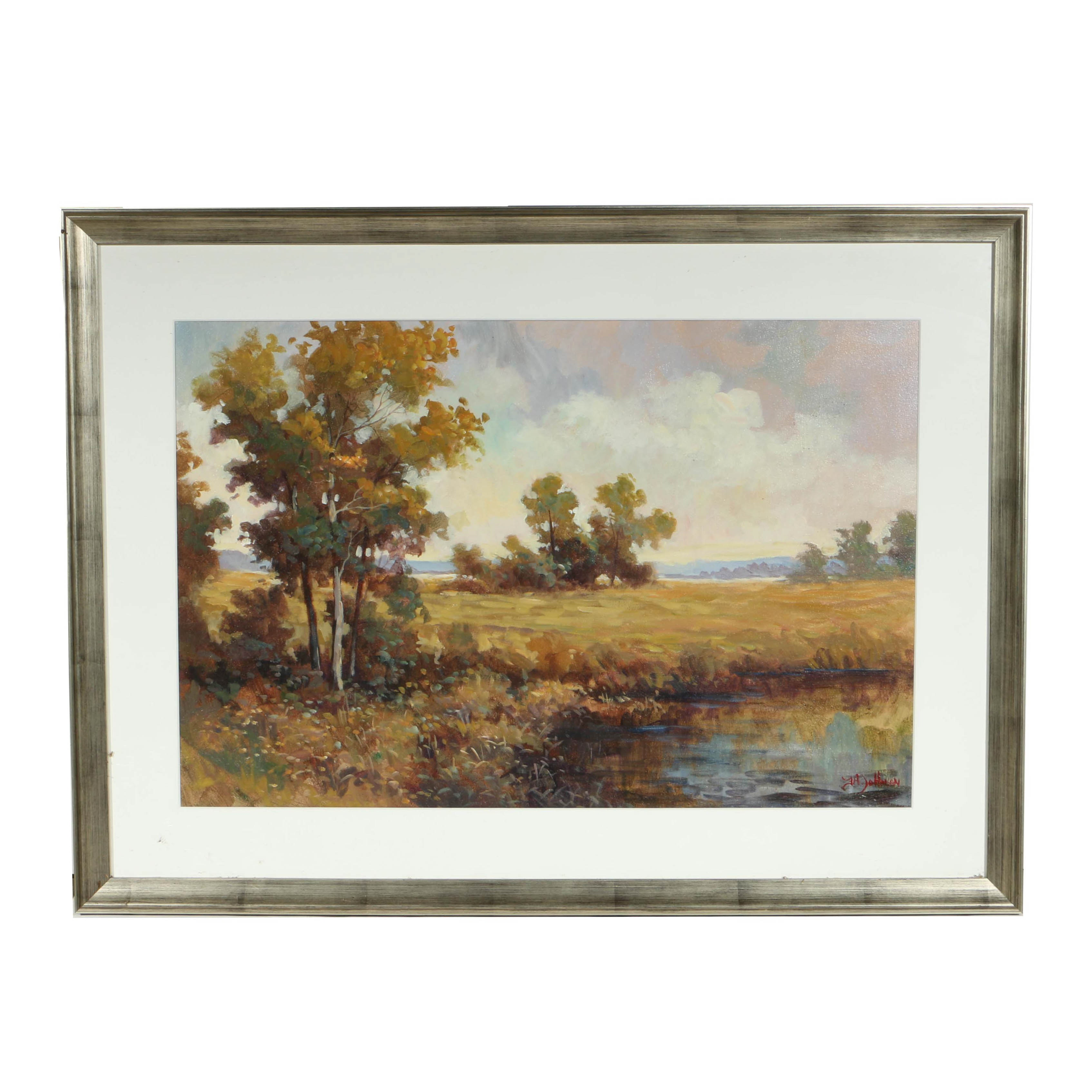 F.A. Johnson Mixed Media Painting on Paper of Impressionistic Landscape