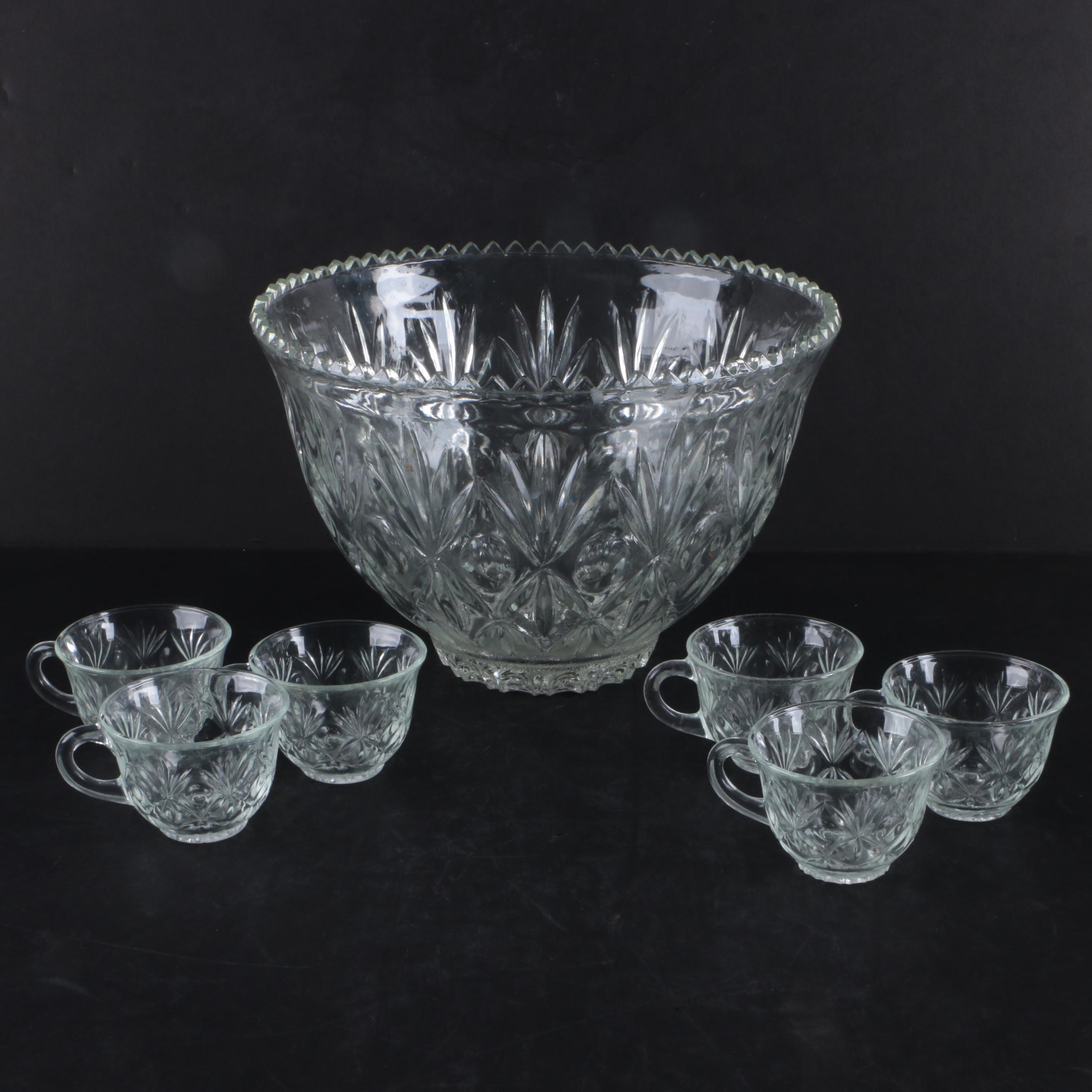 Cut Crystal Punch Bowl Set