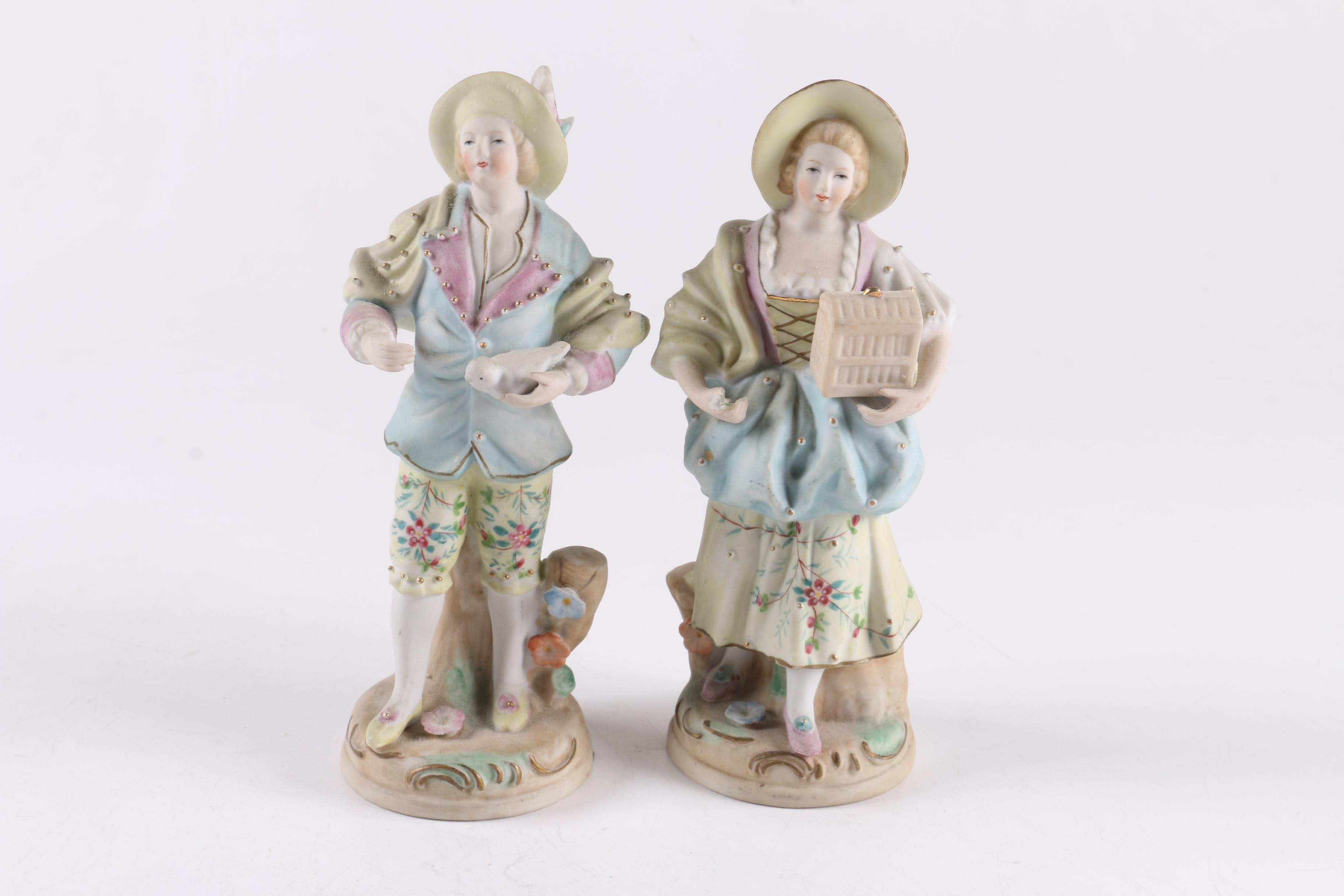 Pair of Vintage Bisque Porcelain Figurines