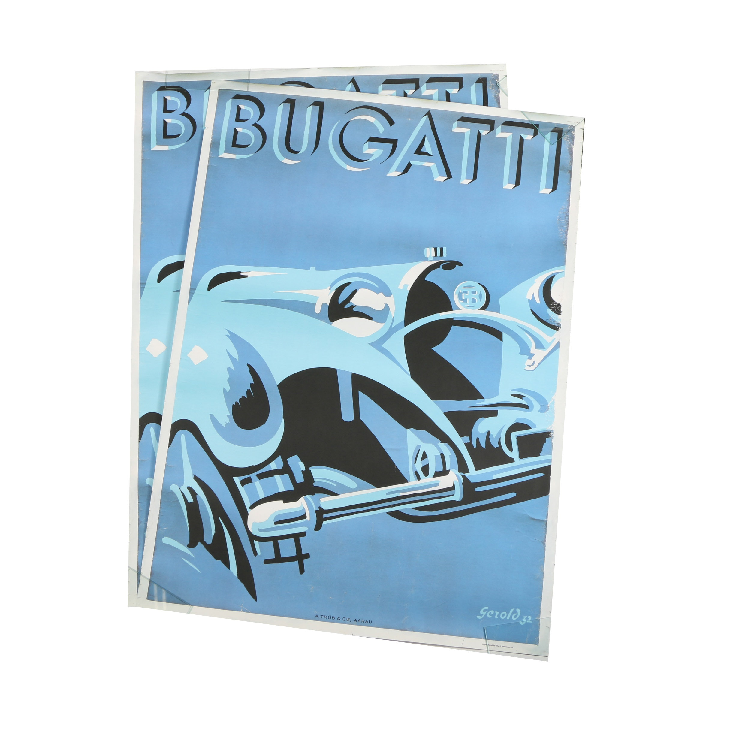 "Two Offset Lithographs on Paper ""Bugatti"" After Gerold Hunziker"