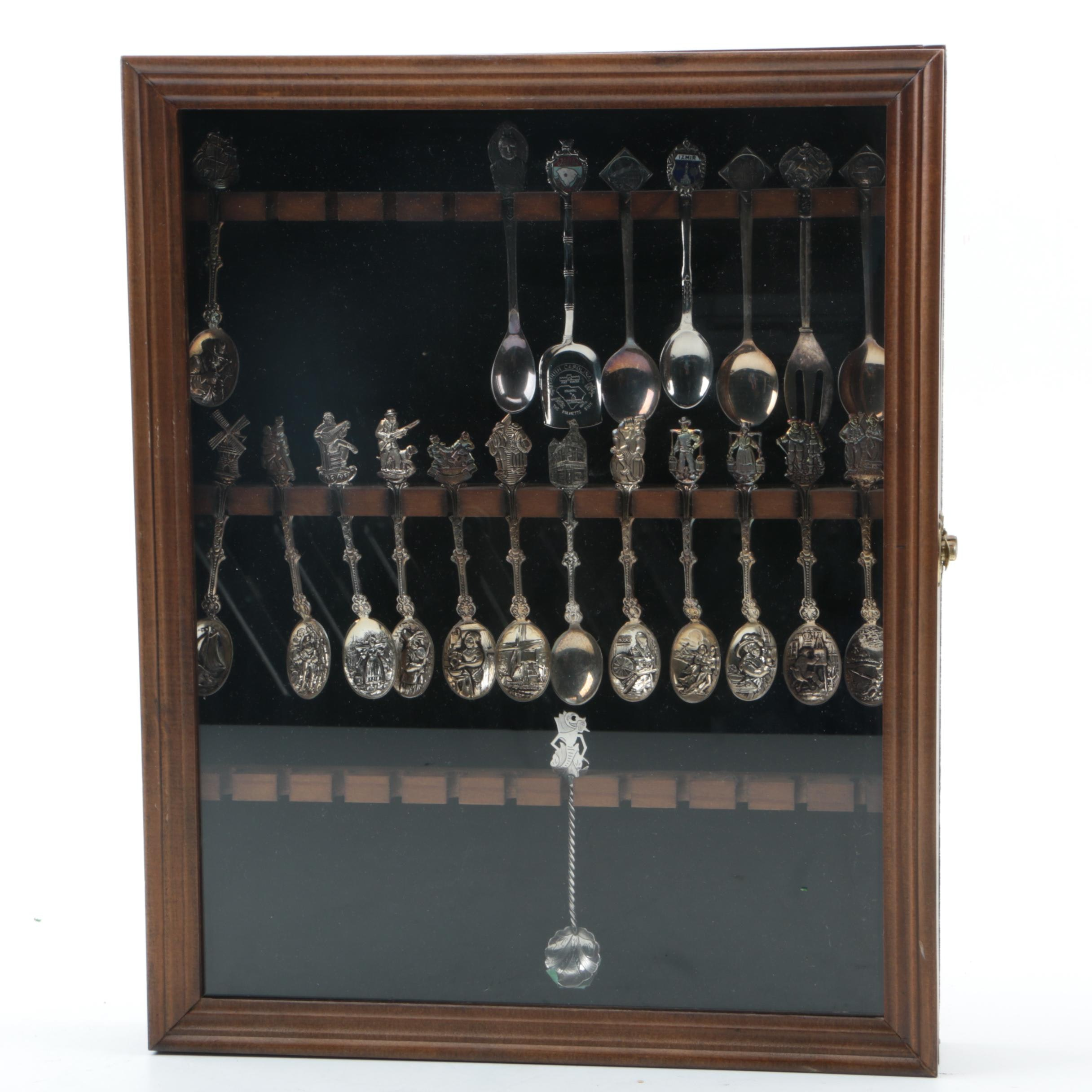 Collection of Silver Plate Souvenir Spoons and 800 Silver Spoon in Wooden Case