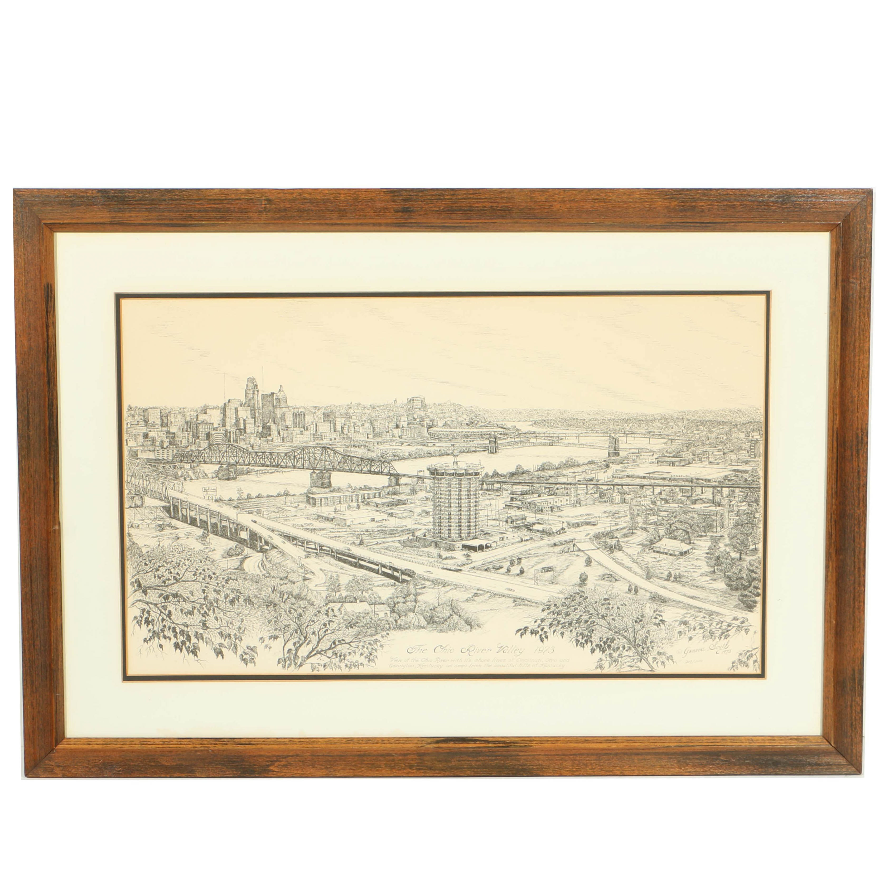 "Geneva Smith Lithograph Print ""The Ohio River Valley 1973"""