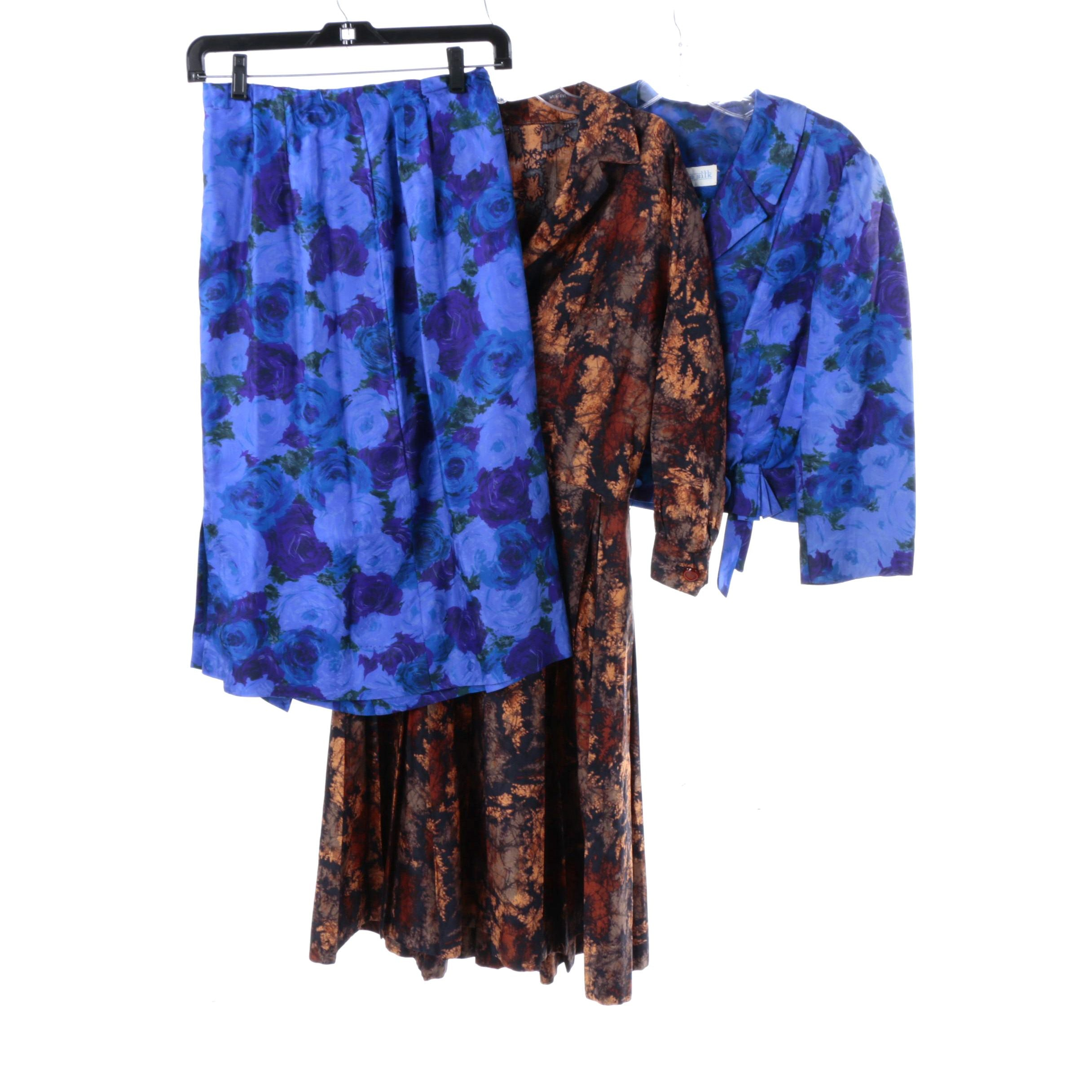1950s Floral Amber Dress and Cobalt Blue Silk Skirt Suit