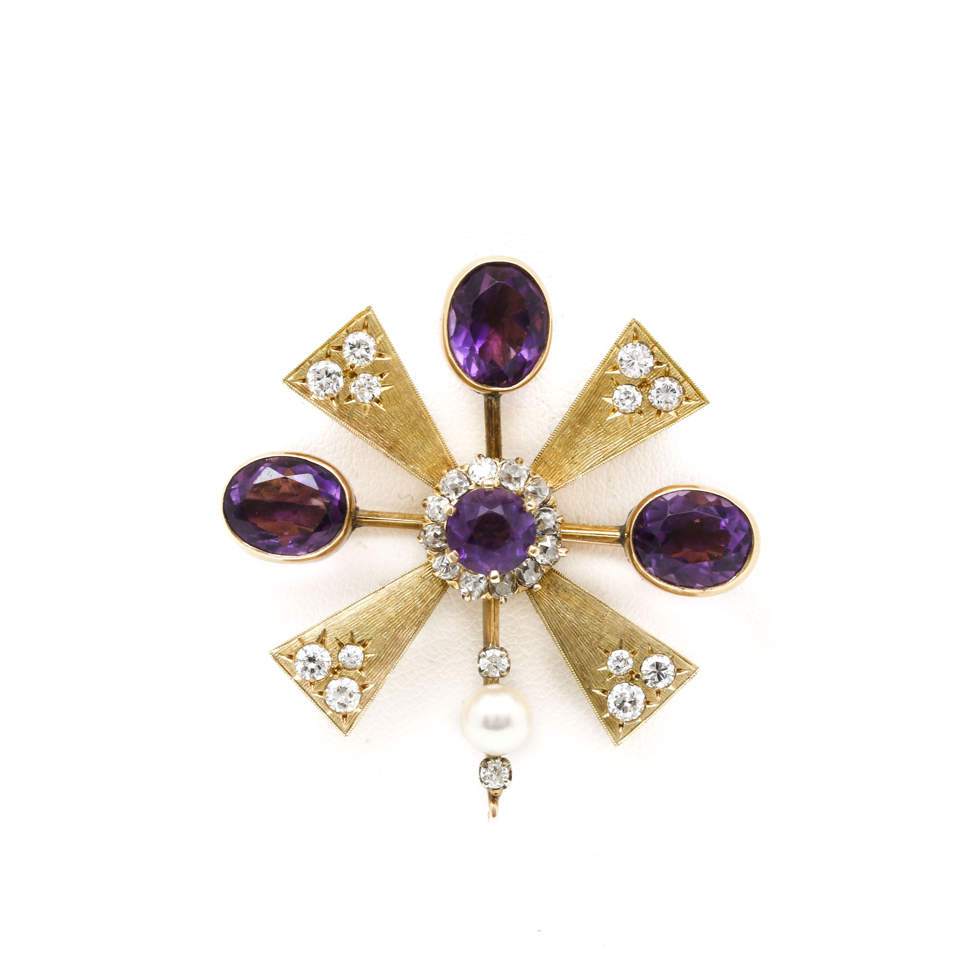 18K and 14K Yellow Gold Amethyst, 1.38 CTW Diamond and Cultured Pearl Brooch