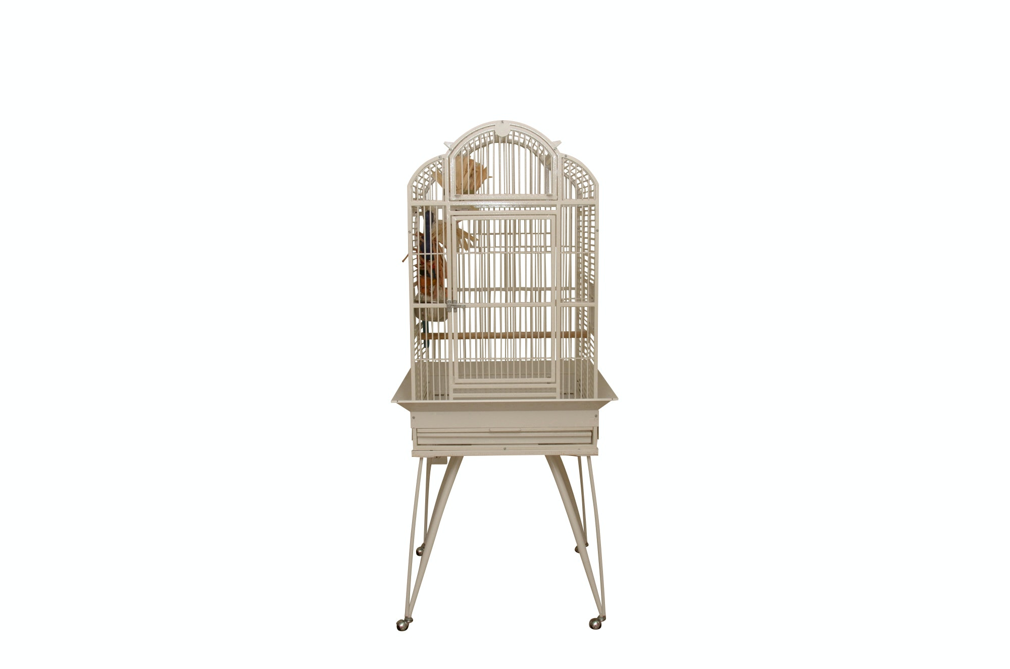 King's Powder-Coated Metal Bird Cage on Rolling Stand