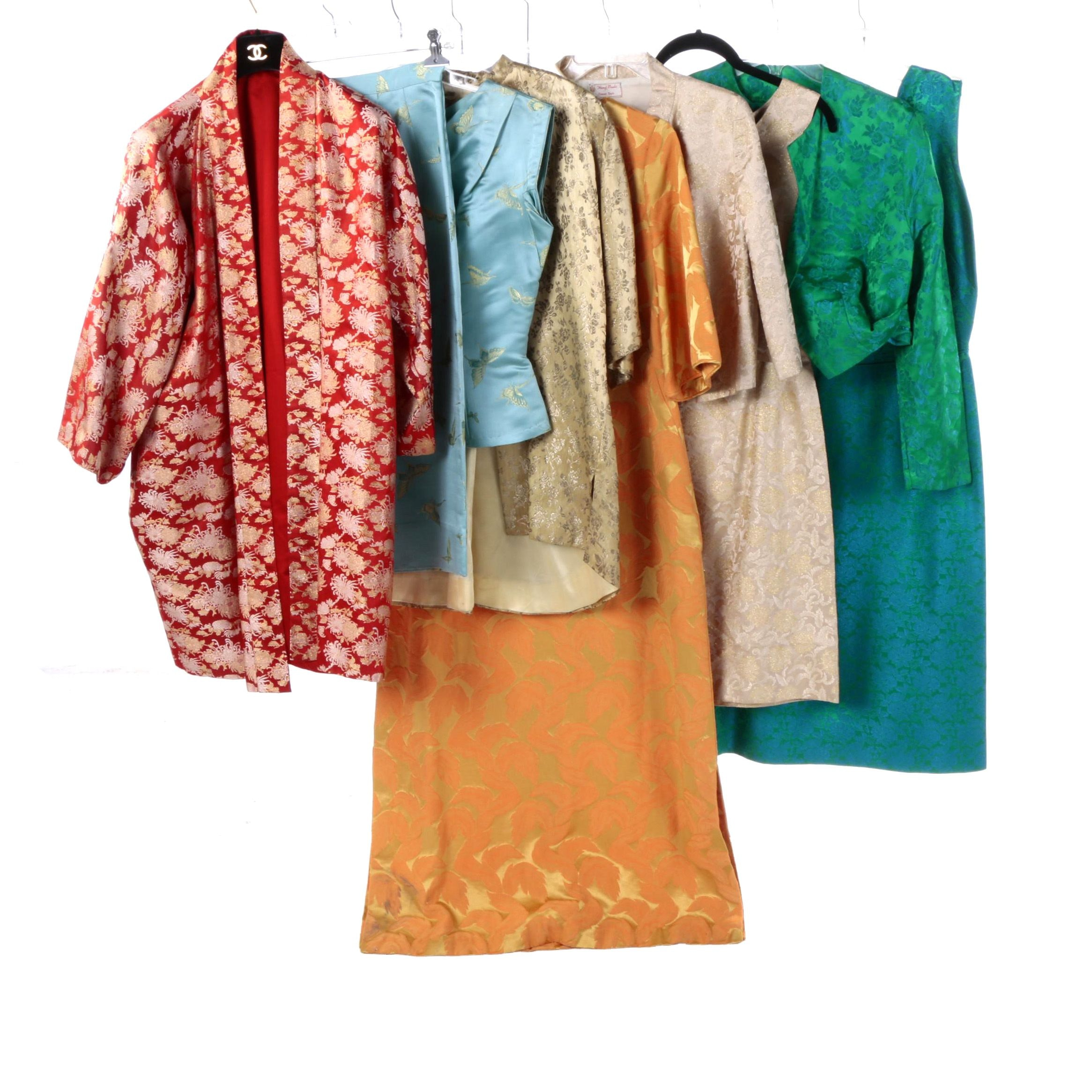 Vintage Asian-Style Brocade Dresses and Jackets