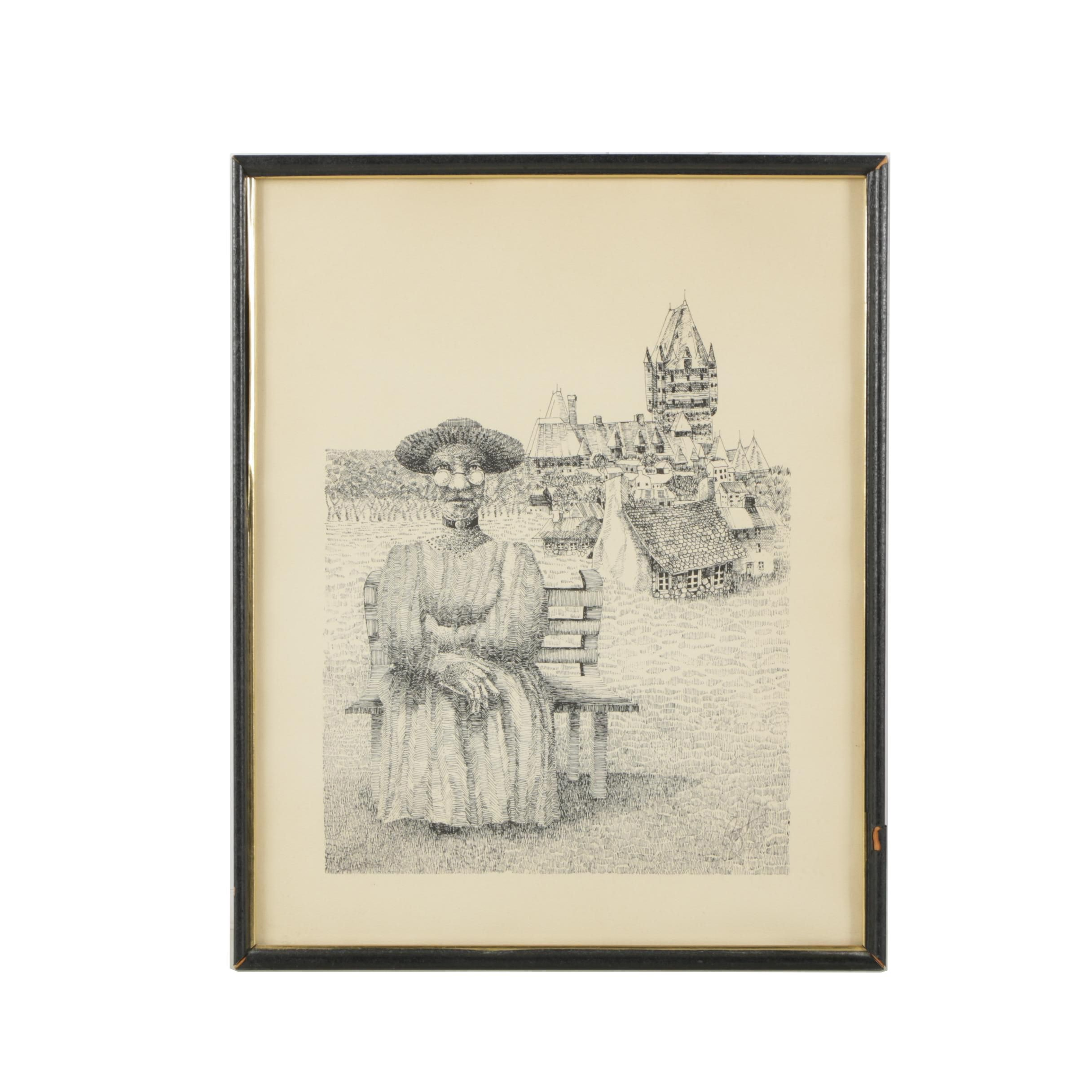 Lithograph Print After Ink Drawing of Padre on a Bench